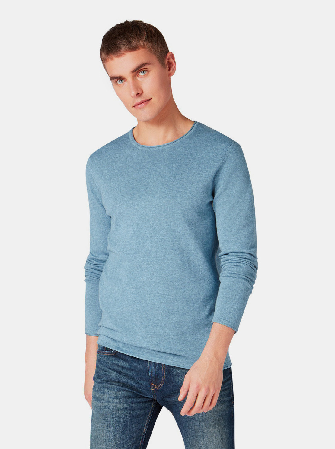 Modrý pánský lehký svetr Tom Tailor Denim ... 67b172bae4