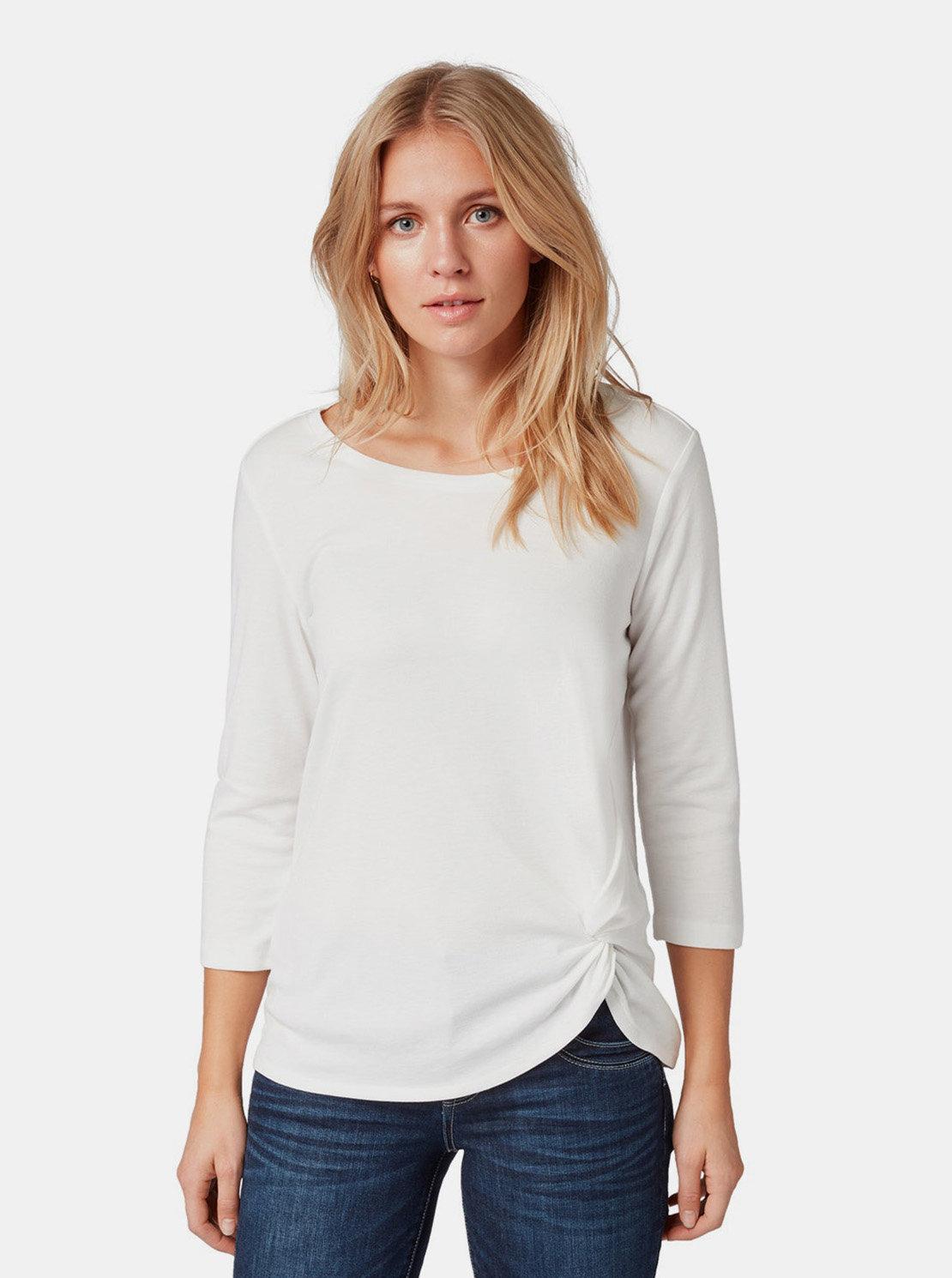 Bílé dámské tričko s řasením na boku Tom Tailor ... 0ffad9f5c6