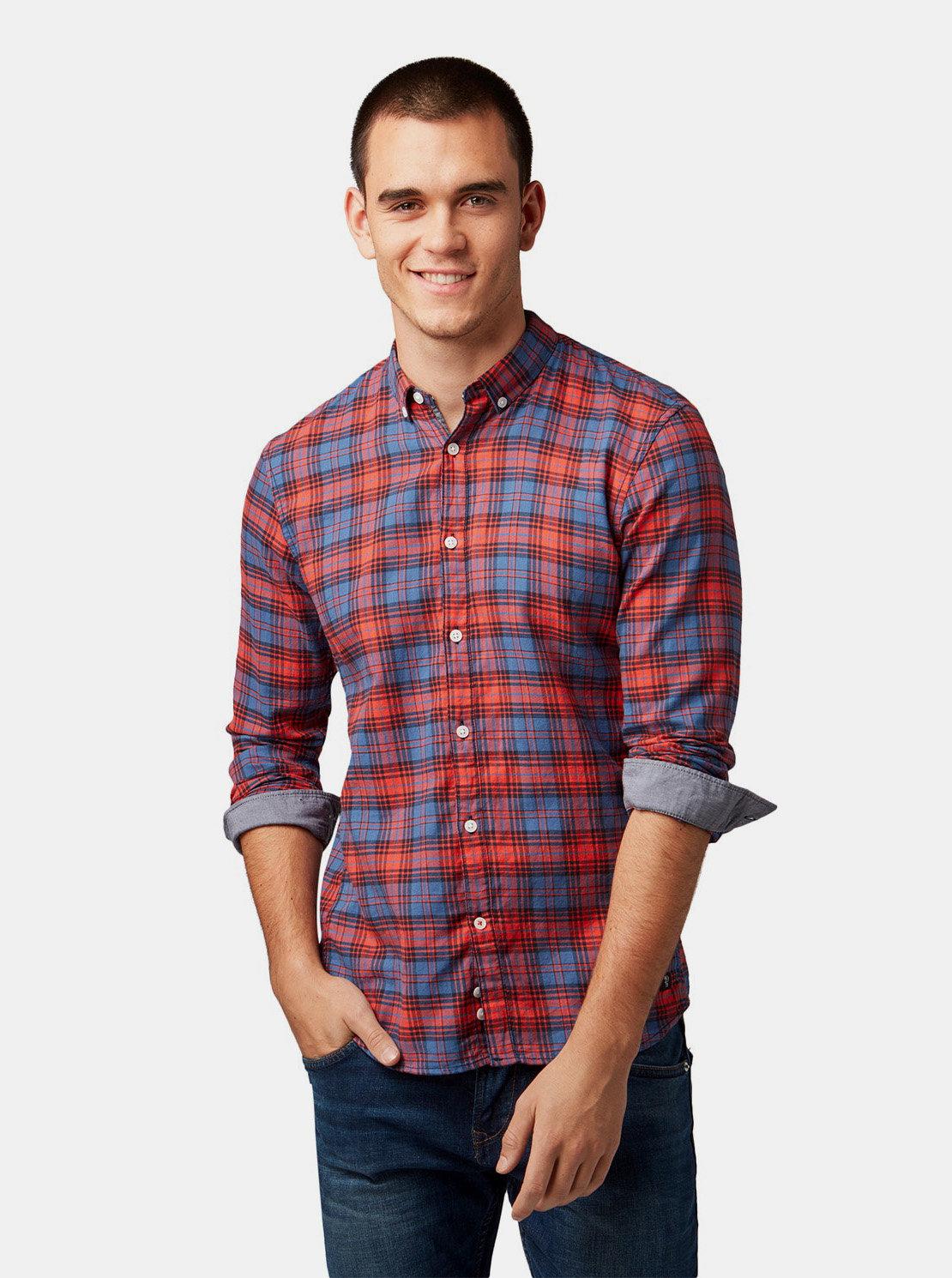 Modro-červená pánská kostkovaná košile Tom Tailor Denim ... 9f7f8c9ed5
