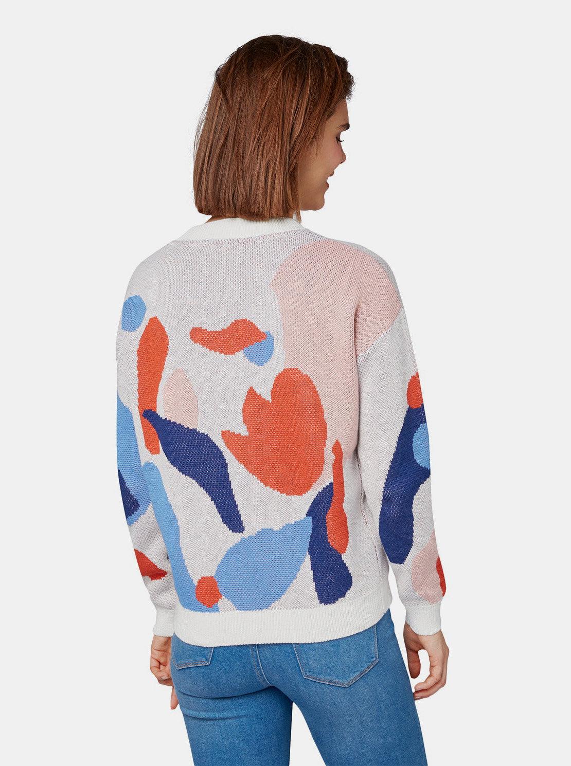 b5eaa92fe073 Červeno–biely dámsky vzorovaný sveter Tom Tailor Denim ...