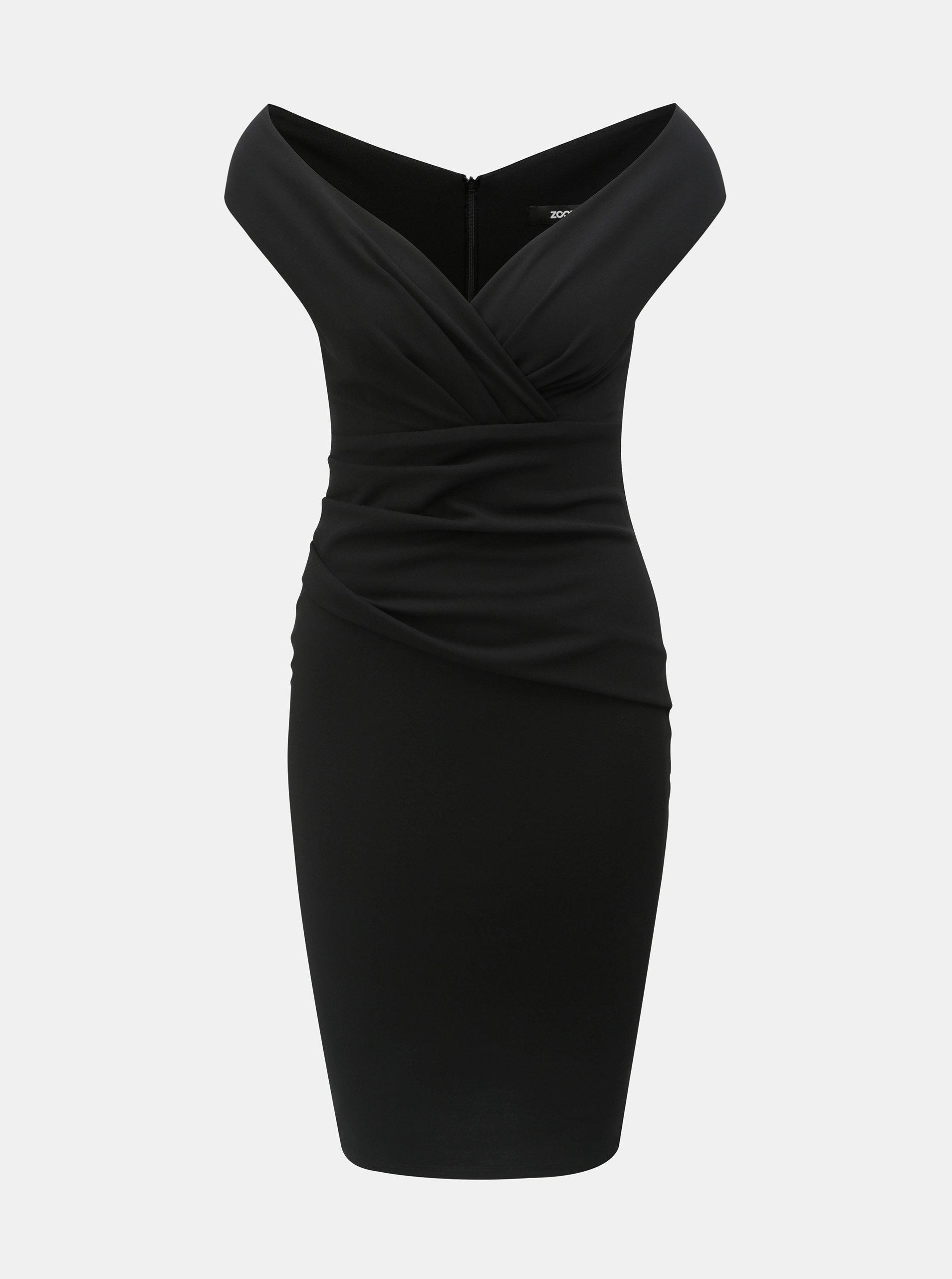 1de0eda616d Černé pouzdrové šaty s řasením ZOOT ...