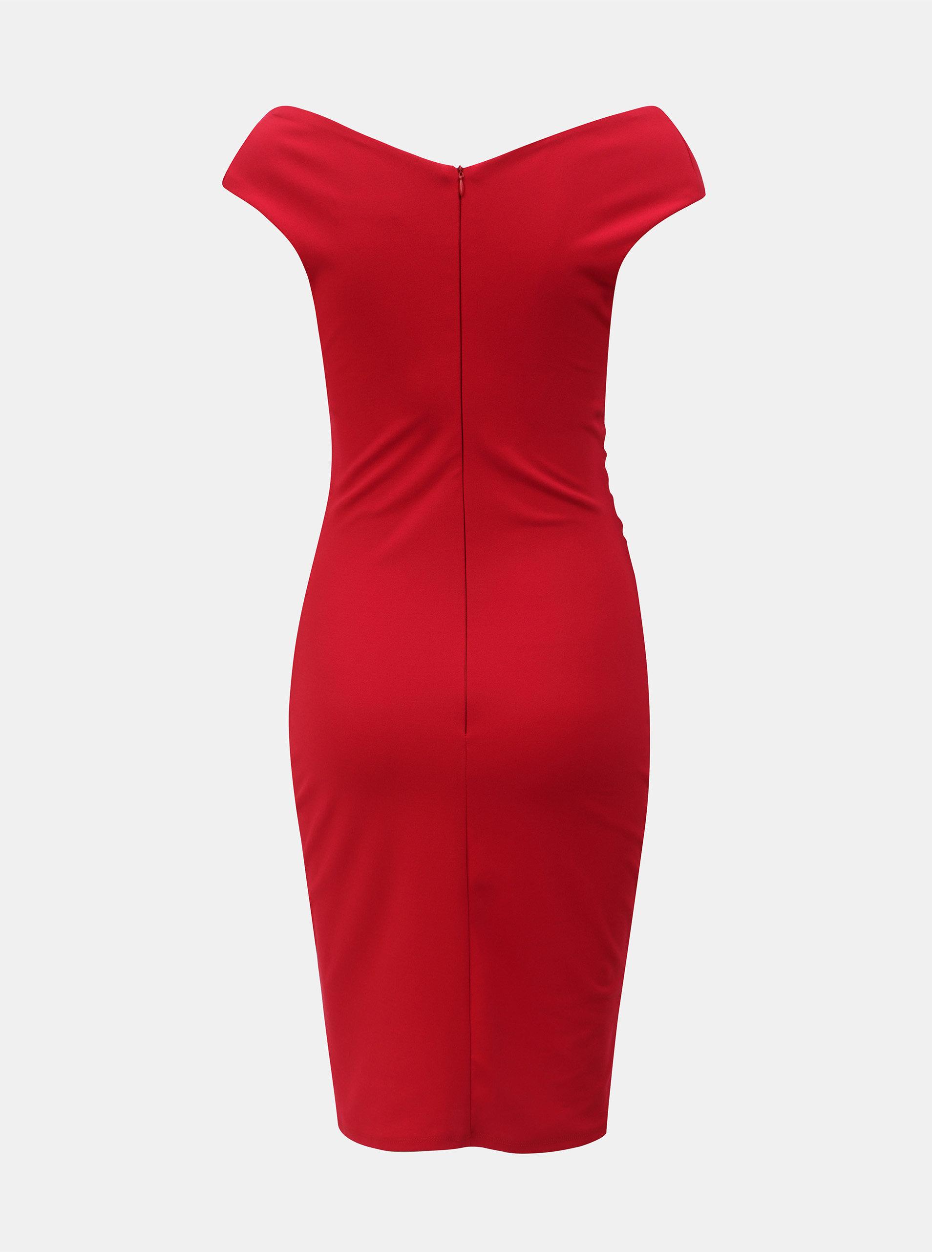 b6e75d16347b Červené puzdrové šaty s riasením ZOOT ...