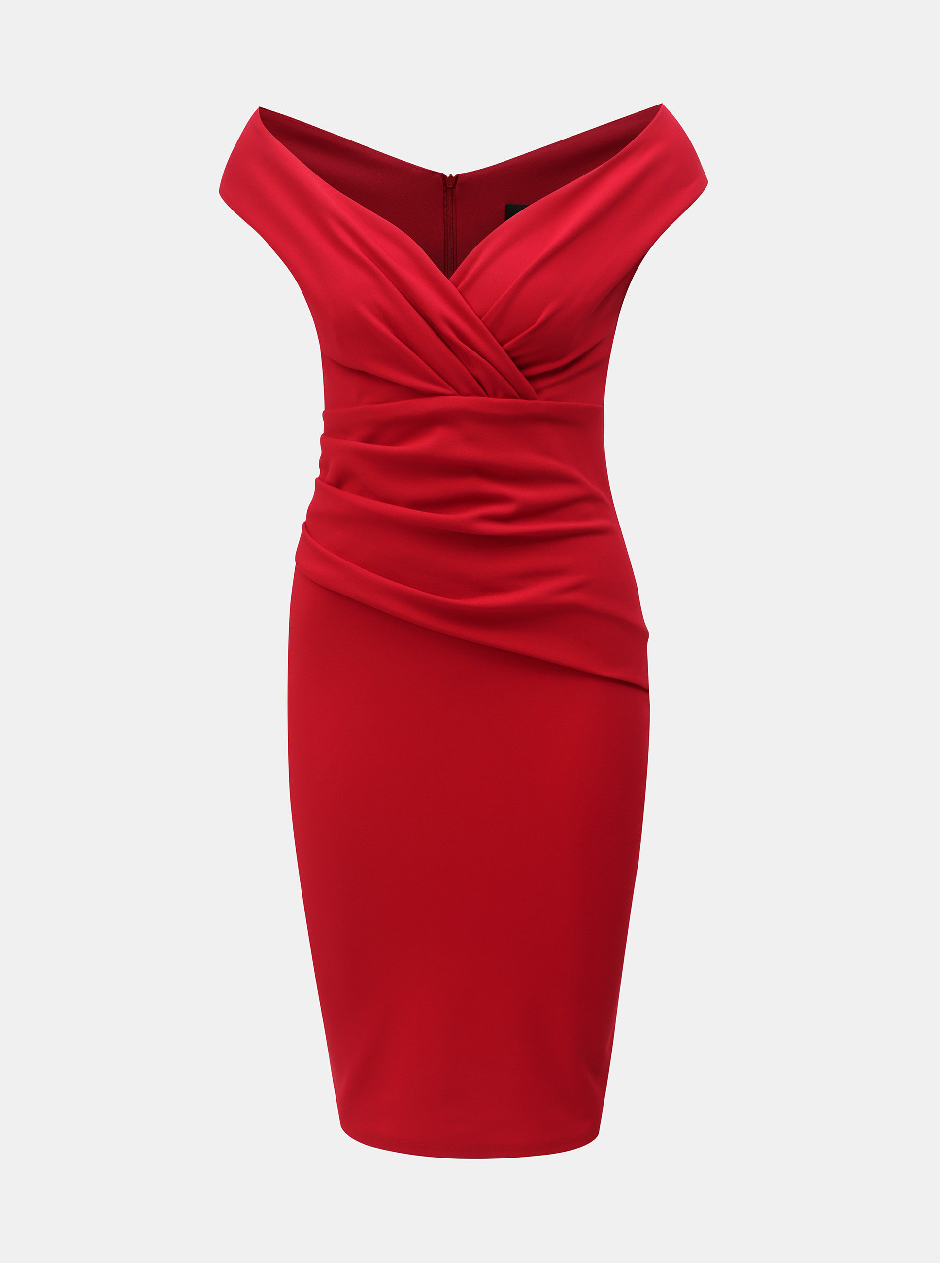 Červené puzdrové šaty s riasením ZOOT ... 47c1ee55f61