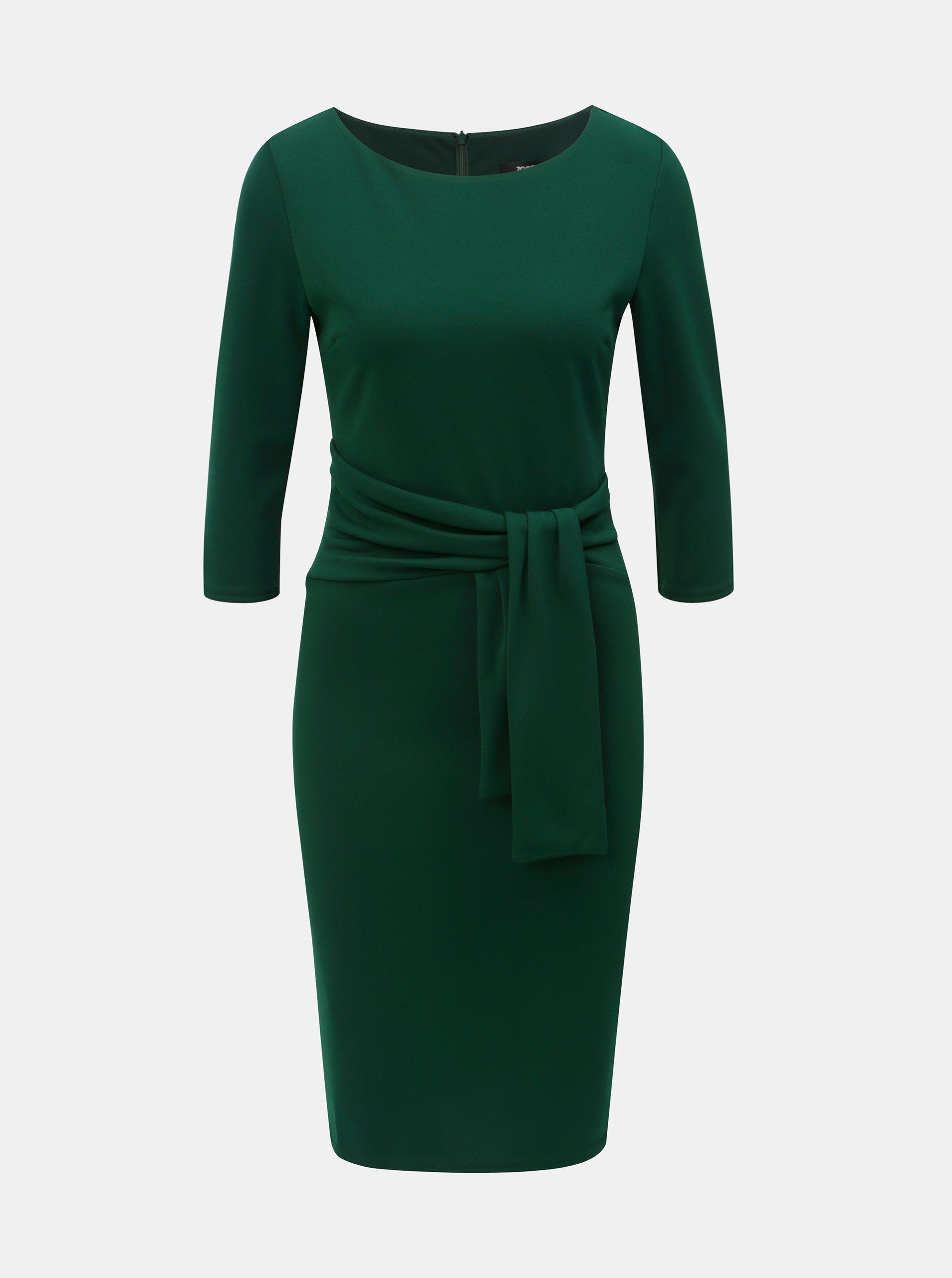 8287171bb4e Tmavě zelené pouzdrové šaty s 3 4 rukávem ZOOT ...