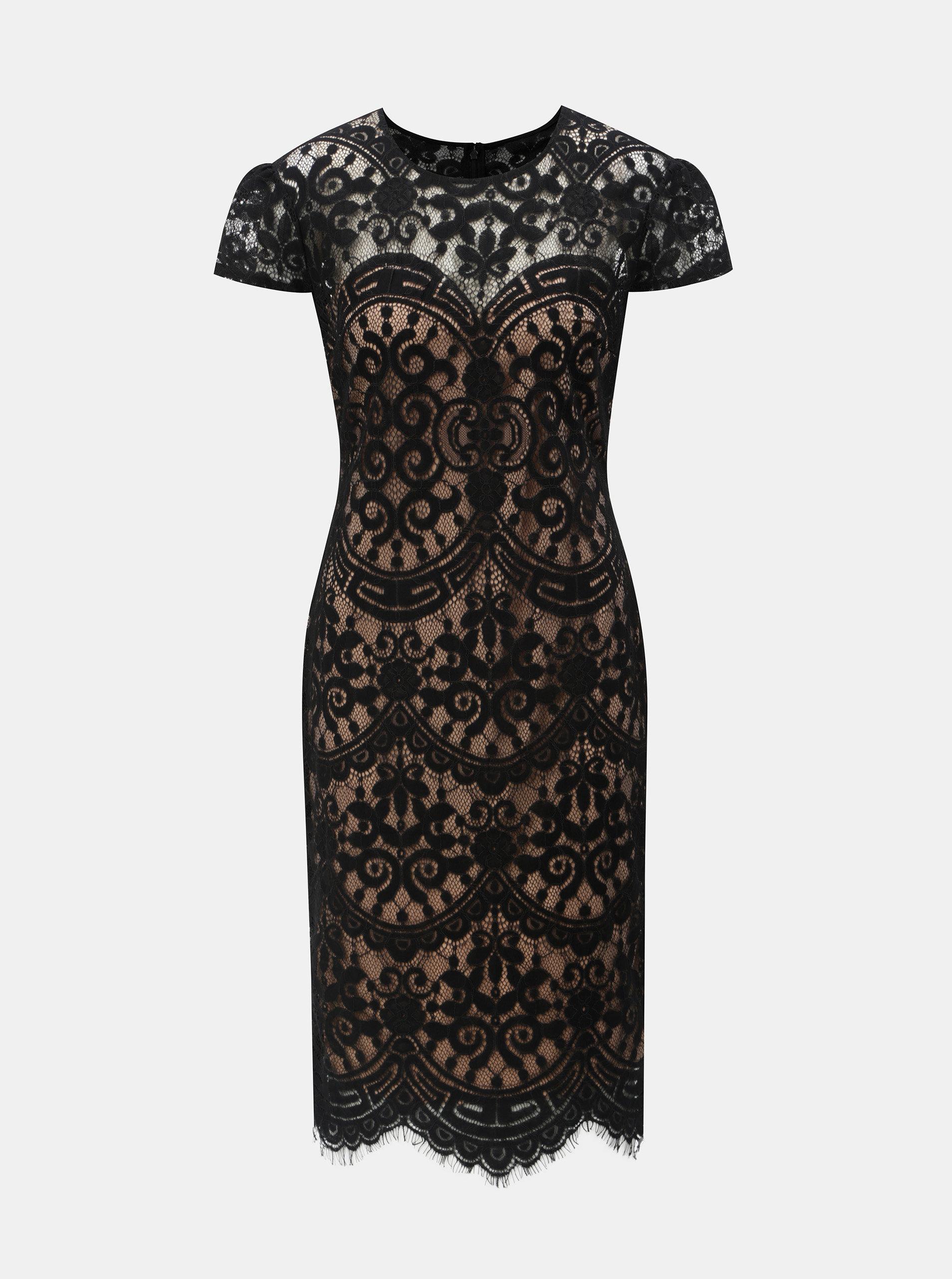 84273b76ce9b Béžovo–čierne čipkované šaty ZOOT ...