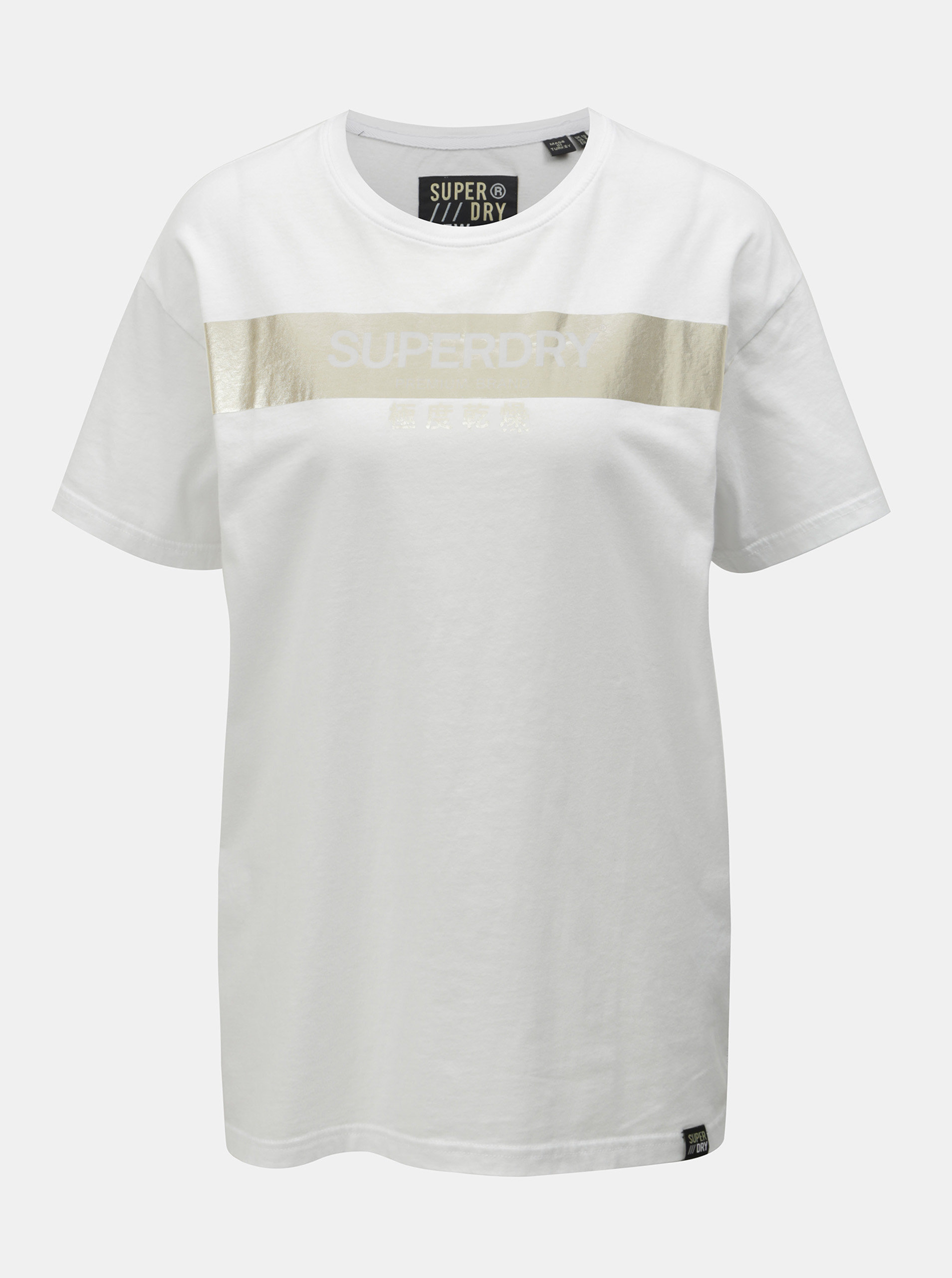 Biele dámske voľné tričko s potlačou Superdry ... 6fe74fa720