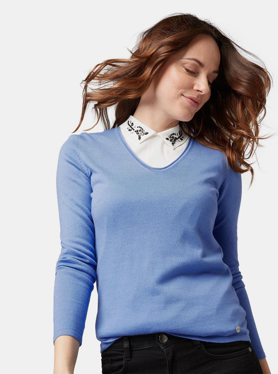 28c659542396 Modrý dámsky tenký sveter Tom Tailor ...