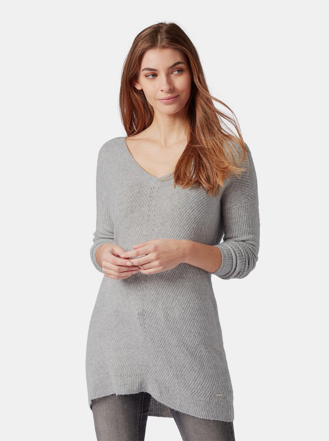 Šedý dámský dlouhý volný svetr Tom Tailor ... b1d00c23c4