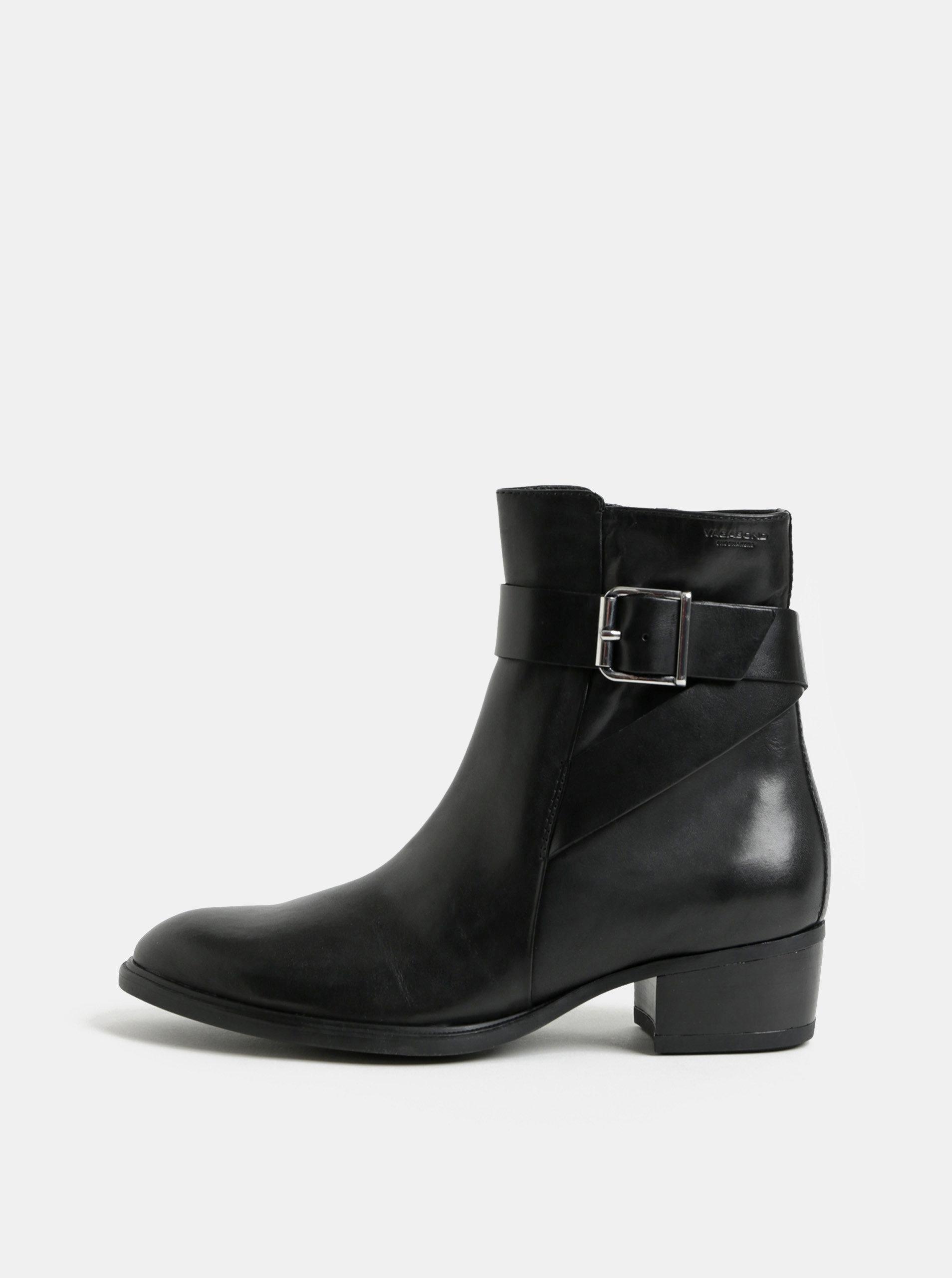 d12979db76 Čierne dámske kožené členkové topánky Vagabond Meja ...