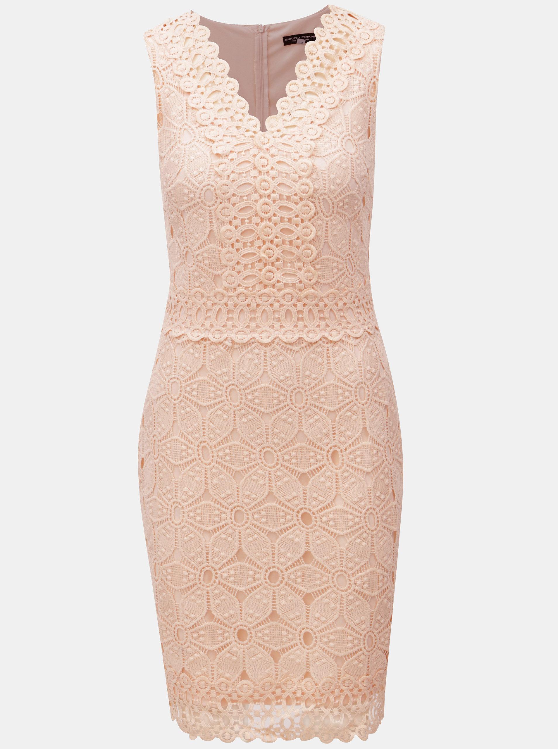1fc39a397d47 Ružové čipkované šaty Dorothy Perkins ...