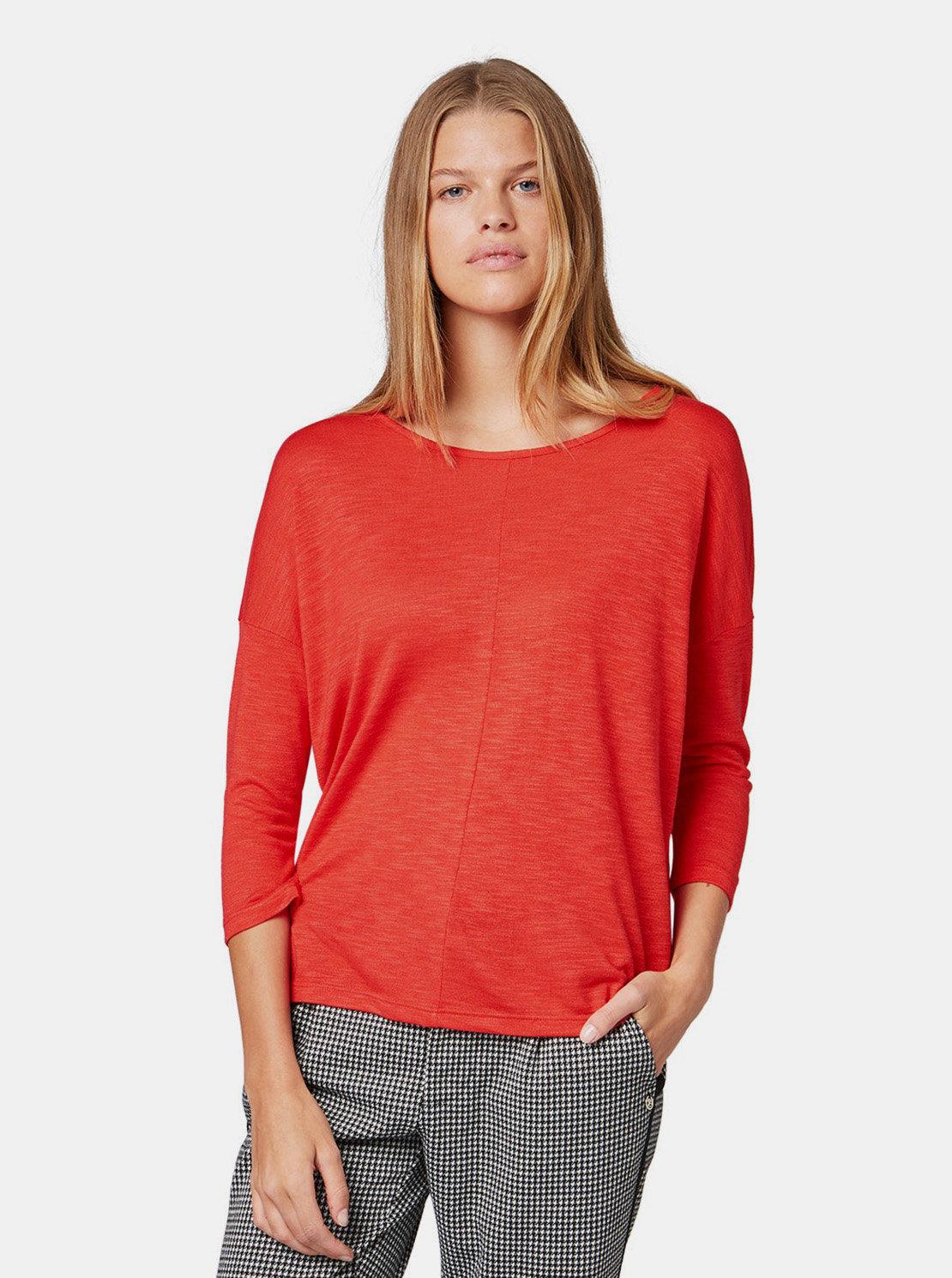 c5b640414cdf Červené dámske voľné tričko s 3 4 rukávom Tom Tailor Denim ...