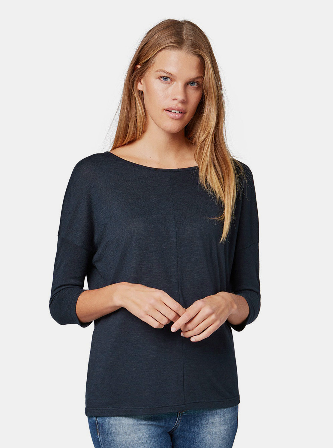 Tmavě modré dámské volné tričko s 3 4 rukávem Tom Tailor Denim ... 020ba11947