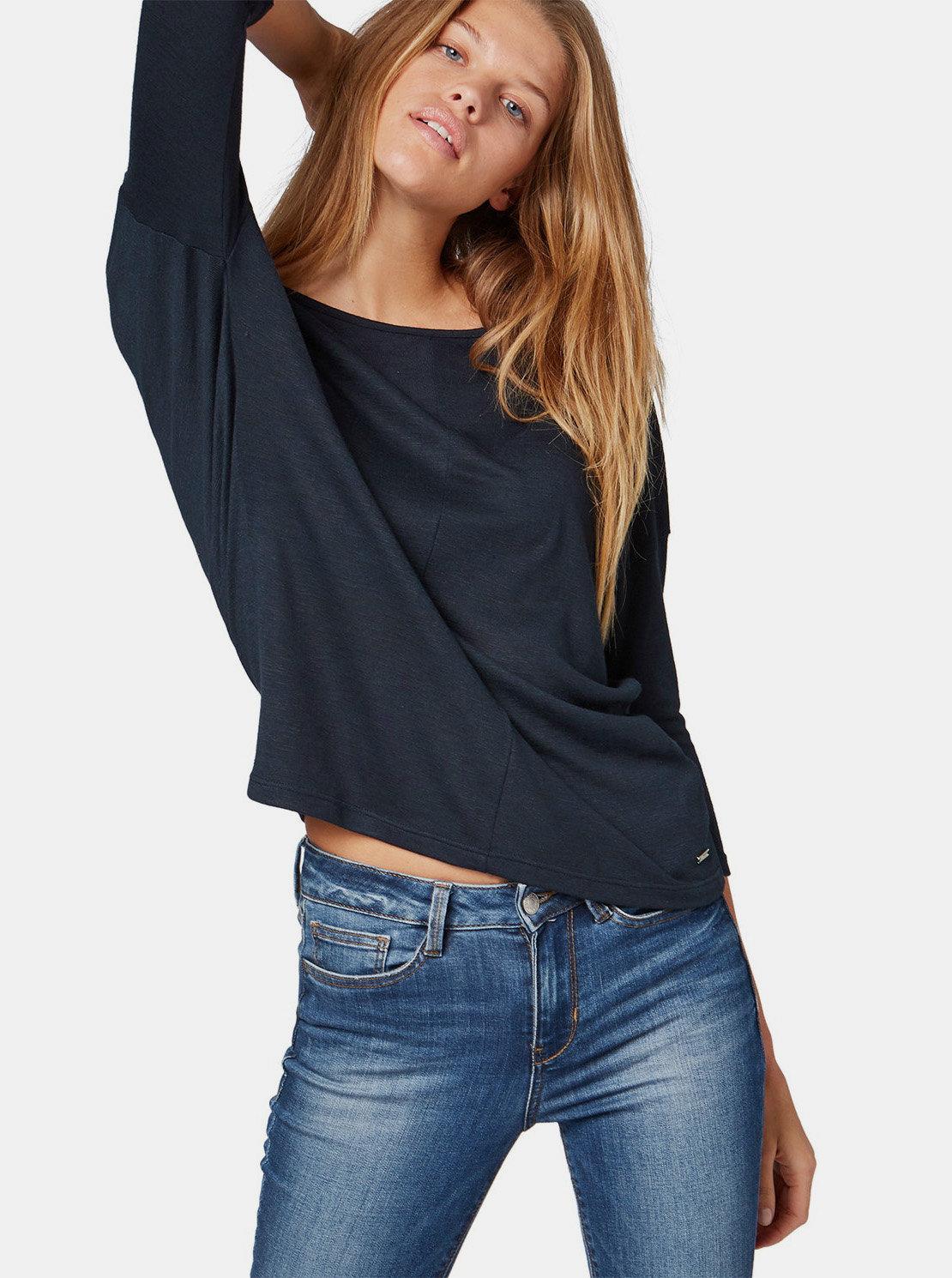 73c2c0ede490 Tmavomodré dámske voľné tričko s 3 4 rukávom Tom Tailor Denim ...