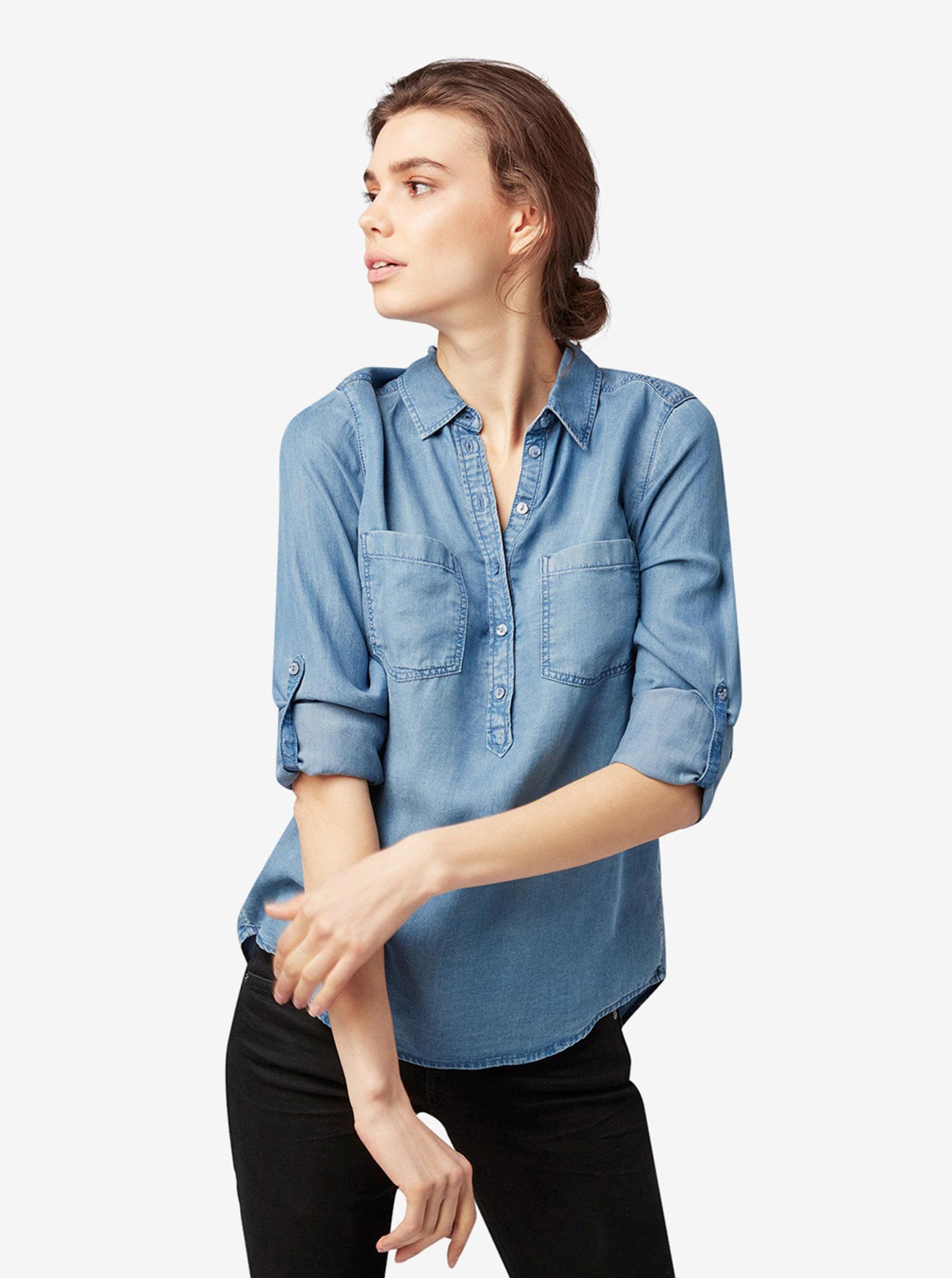 2f931686f689 Modrá dámska rifľová košeľa Tom Tailor ...