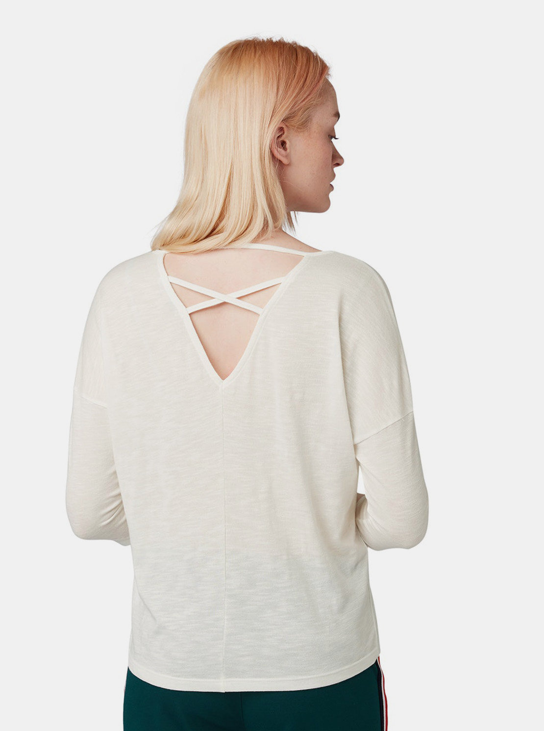 8496add50777 Krémové dámske voľné tričko s 3 4 rukávom Tom Tailor Denim ...