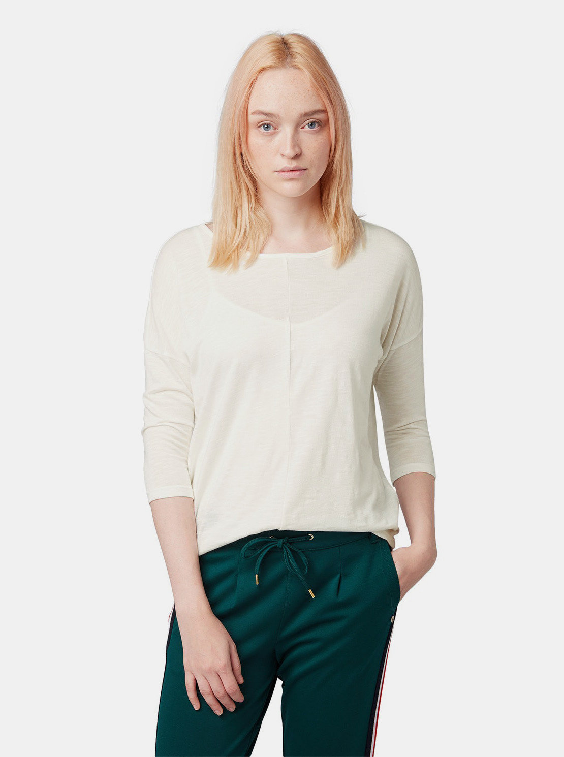 Krémové dámské volné tričko s 3 4 rukávem Tom Tailor Denim ... 6aa35f05f0