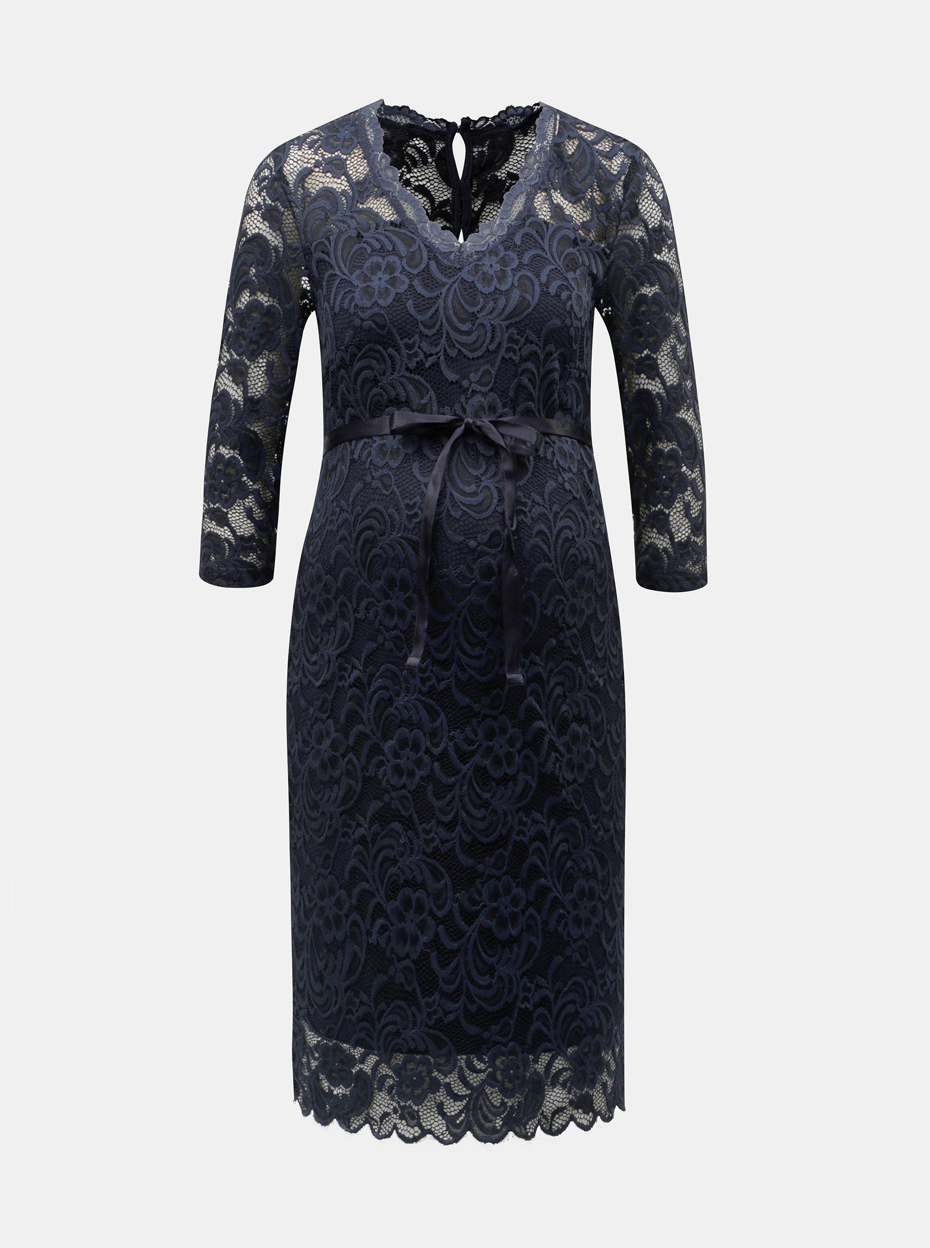 Tmavomodré tehotenské čipkované puzdrové šaty Mama.licious Mivana ... 5998d3e61ab