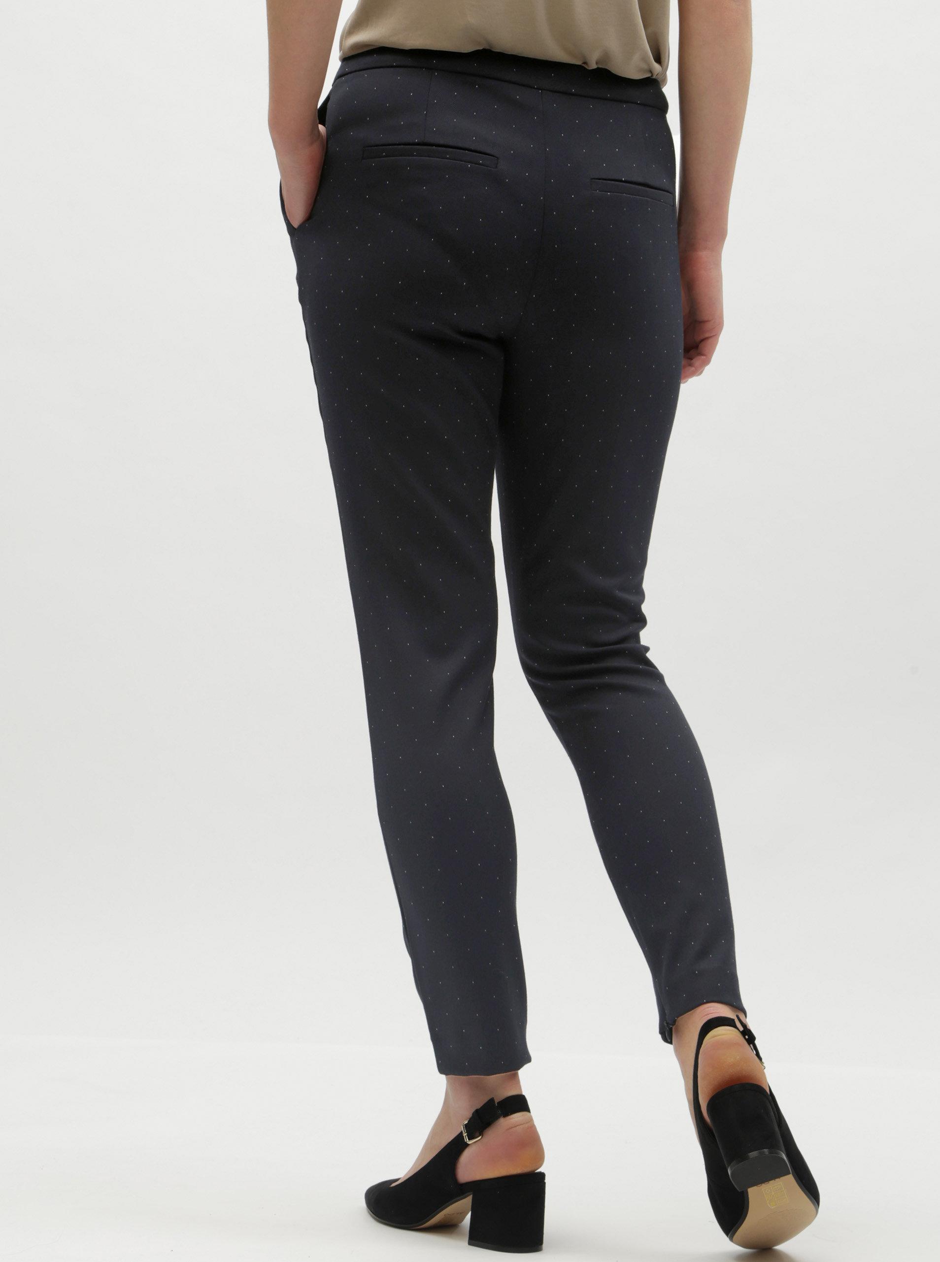 Tmavě modré puntíkované zkrácené kalhoty s vysokým pasem Selected Femme  Muse ... 2df3a77254