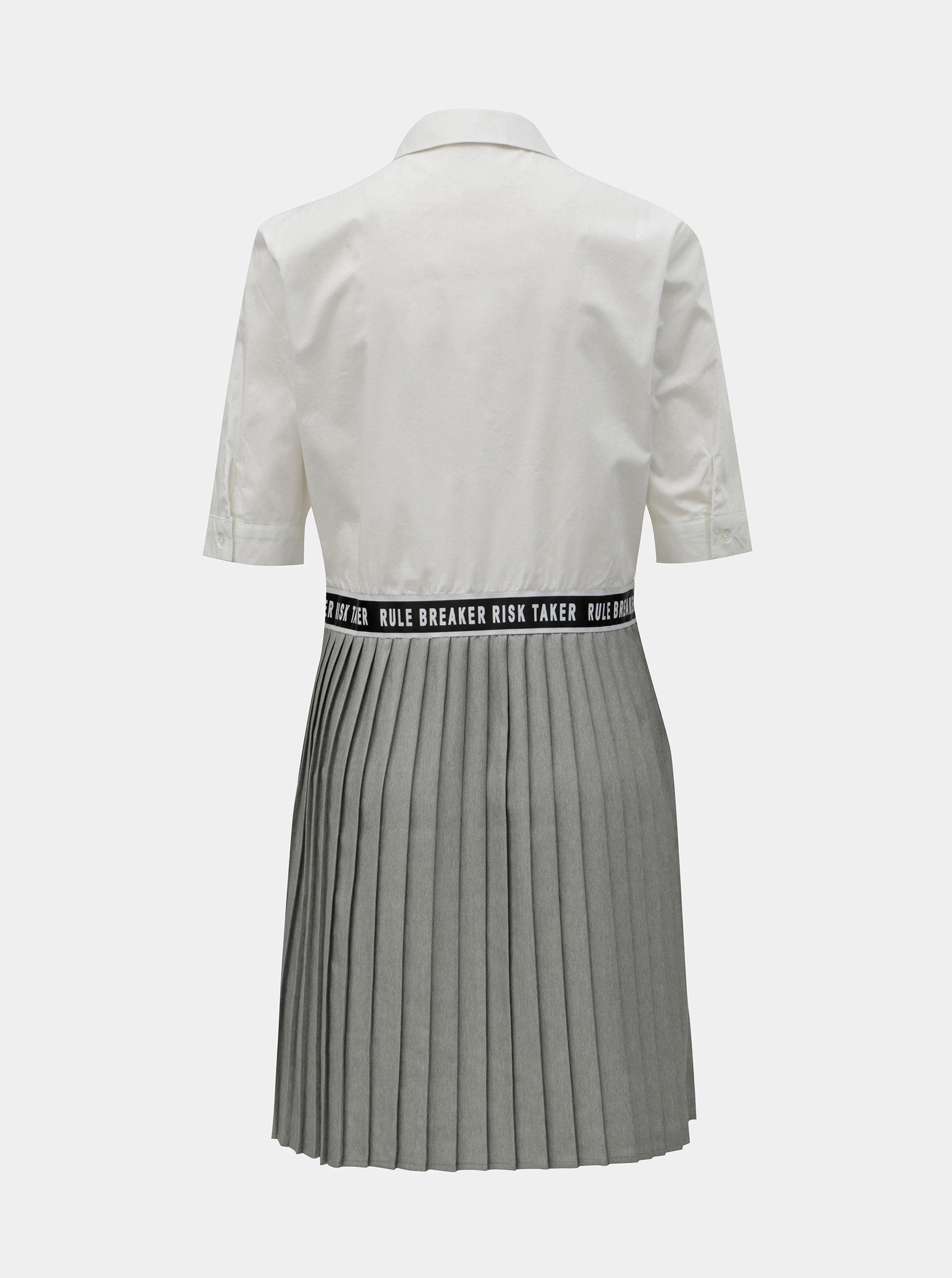 77a9211bc550 Sivo–biele košeľové šaty so skladanou sukňou Noisy May Mallie ...