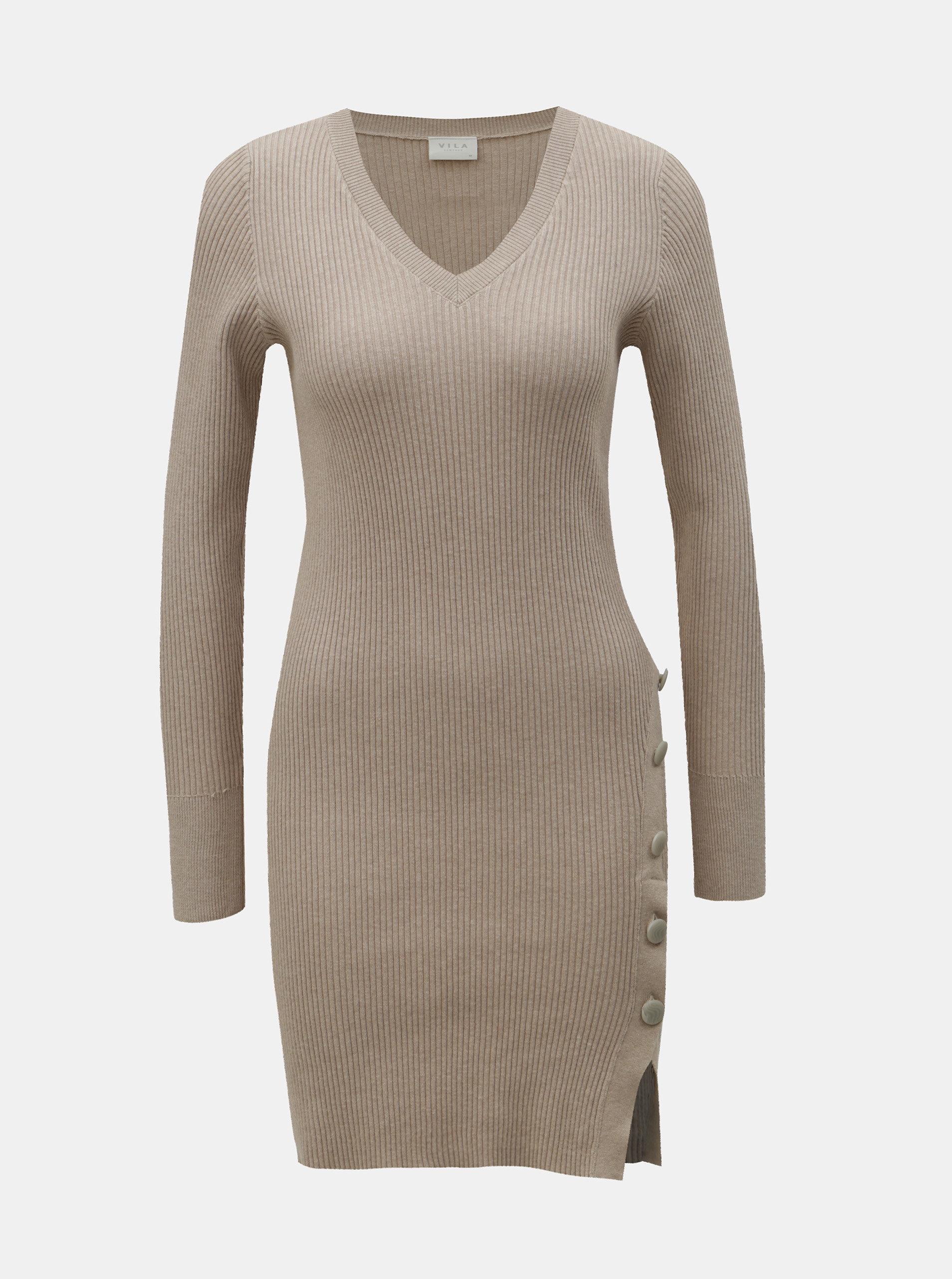 d6462c9cf71f Béžové žebrované svetrové šaty s knoflíky VILA Soldana ...
