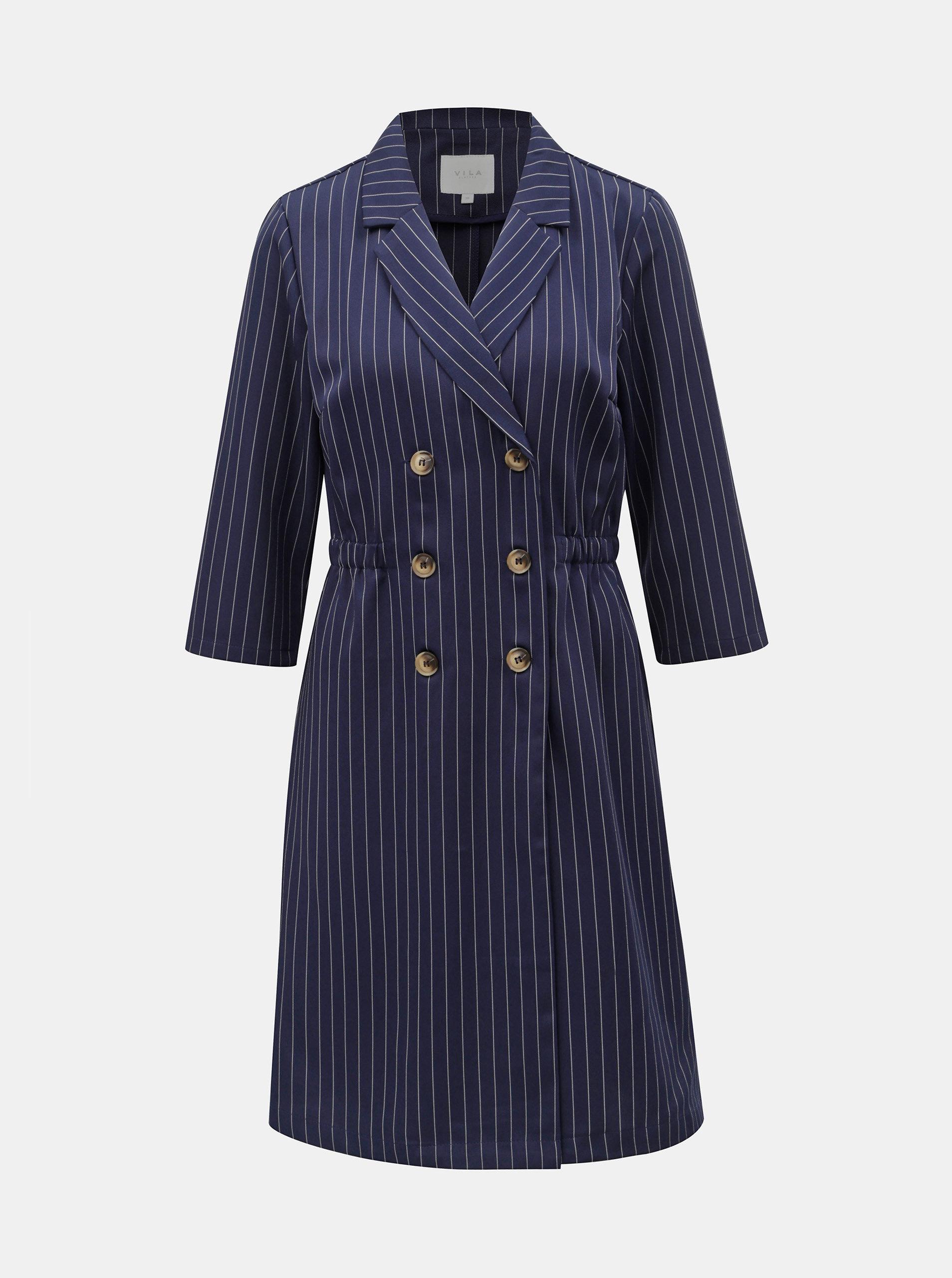 0a4906b83b Tmavě modré pruhované šaty s knoflíky VILA Enrica ...