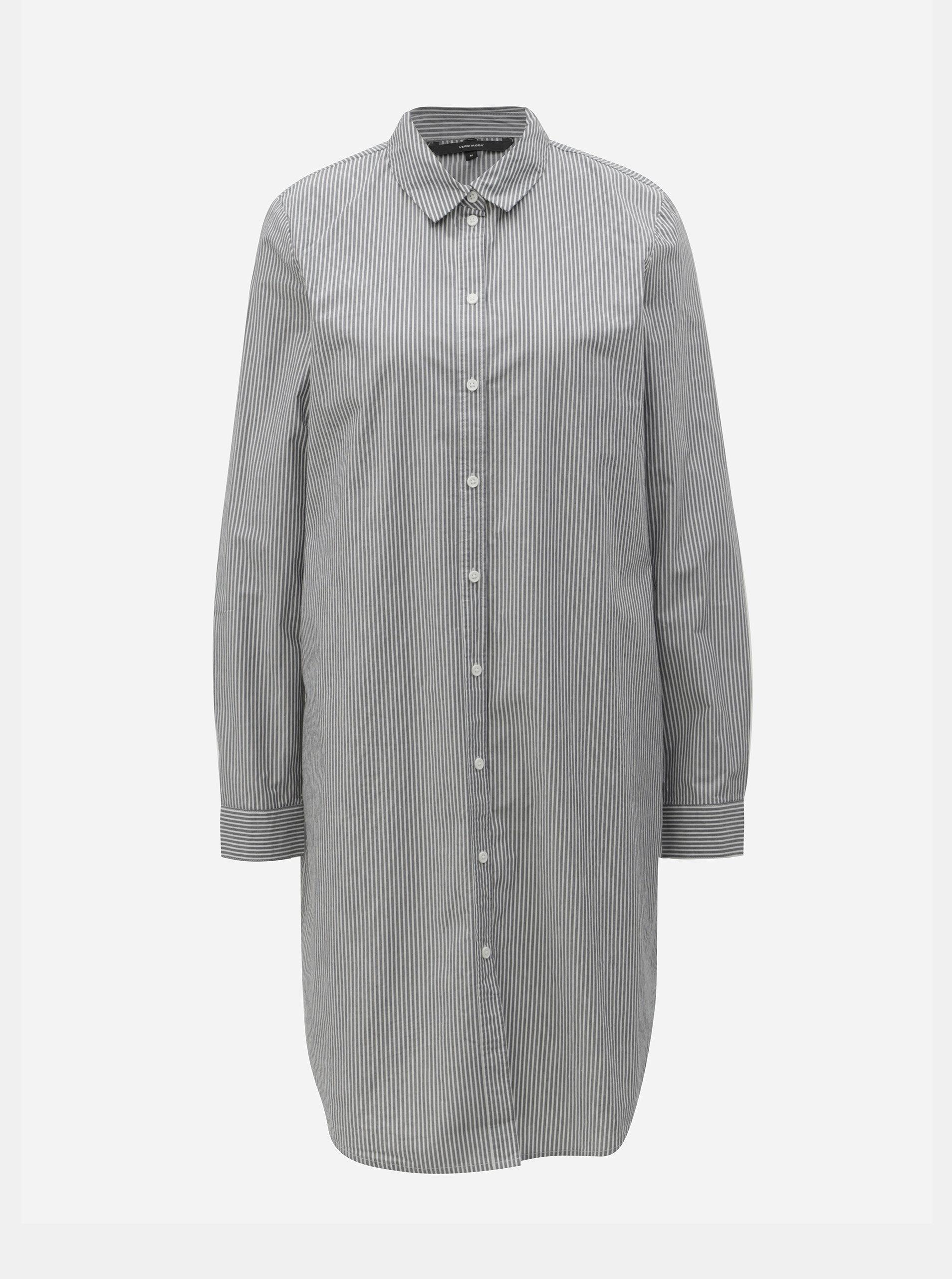 9db02b36c5f Bílo-šedé košilové pruhované šaty s páskem VERO MODA Silje ...