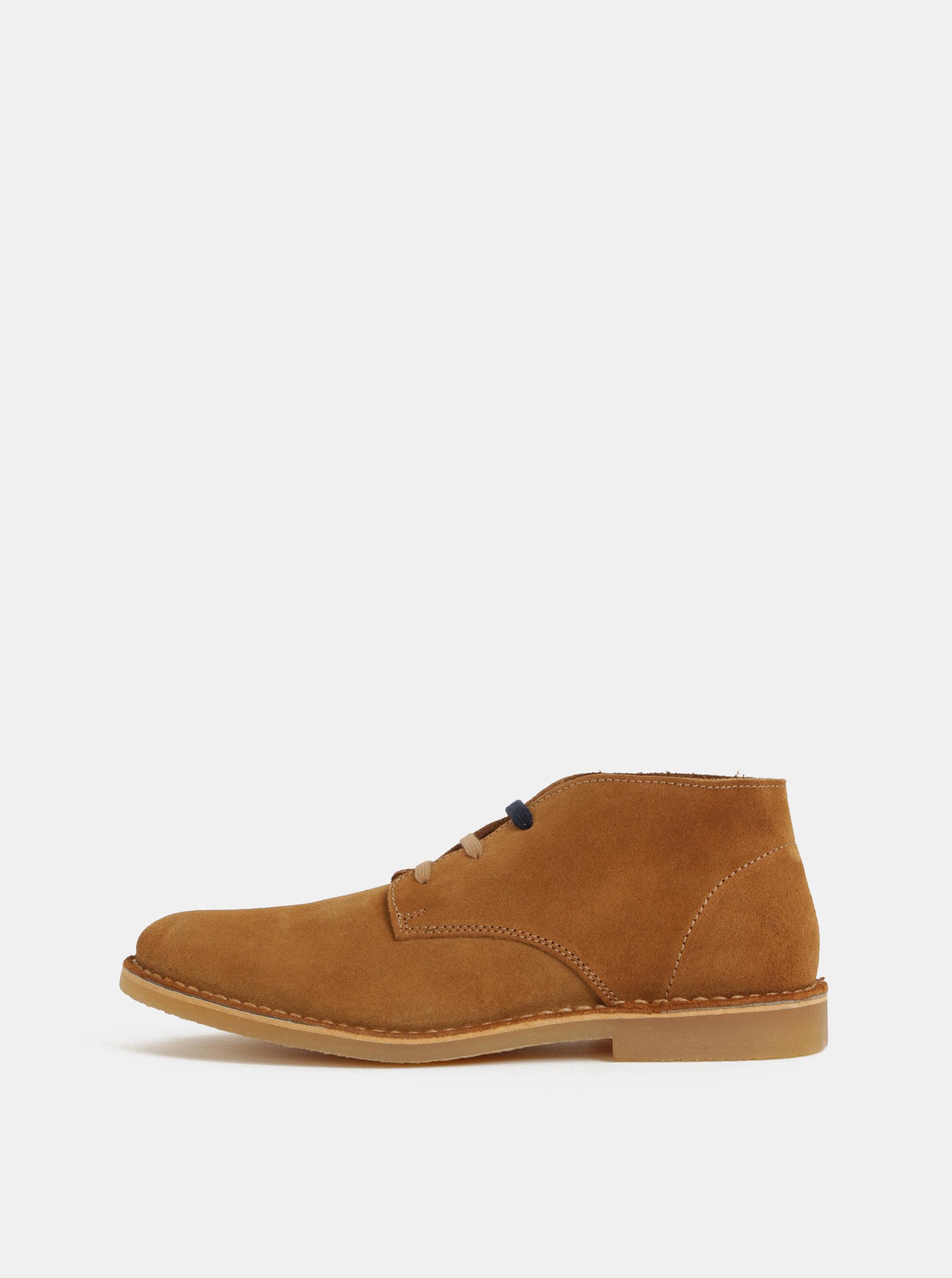 Hnedé pánske semišové členkové topánky Selected Homme Royce ... 24fb7641364
