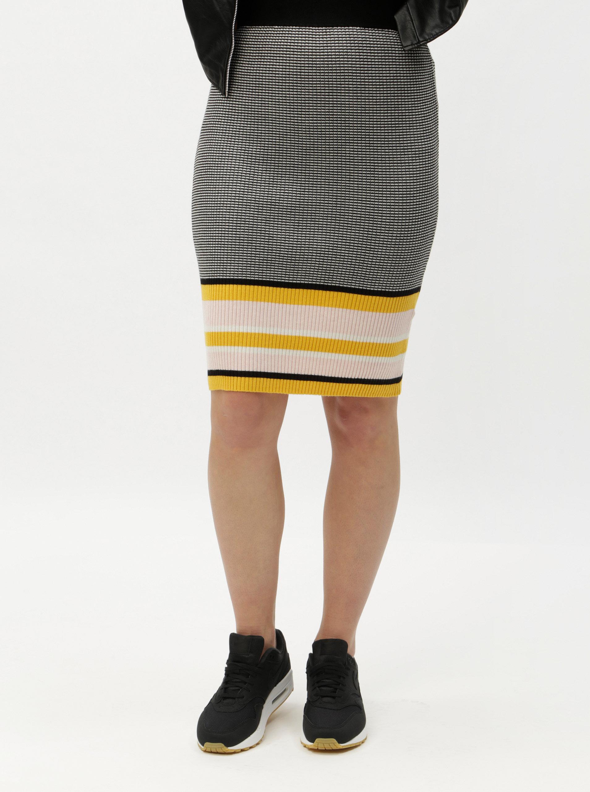 f6c817fef8c Žluto-šedá vzorovaná pouzdrová sukně ONLY Sigrid ...