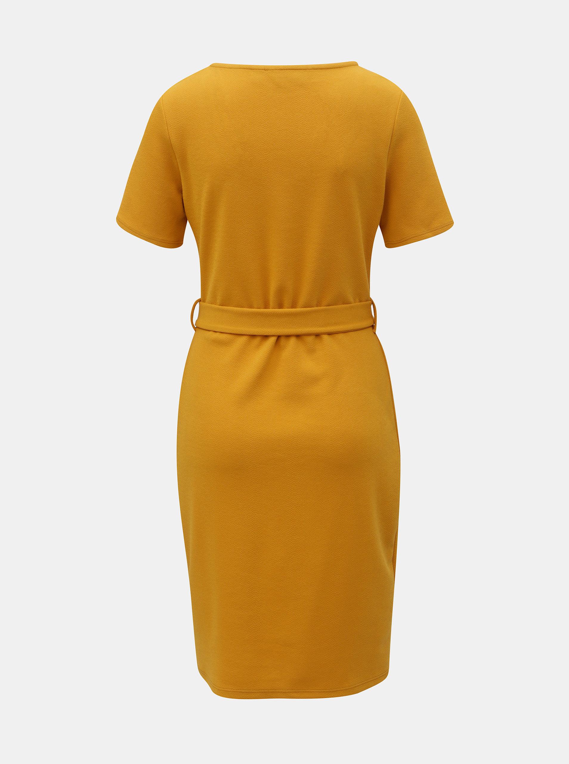 a100cfbcd7e0 Horčicové puzdrové šaty s ozdobným opaskom Dorothy Perkins Tall ...