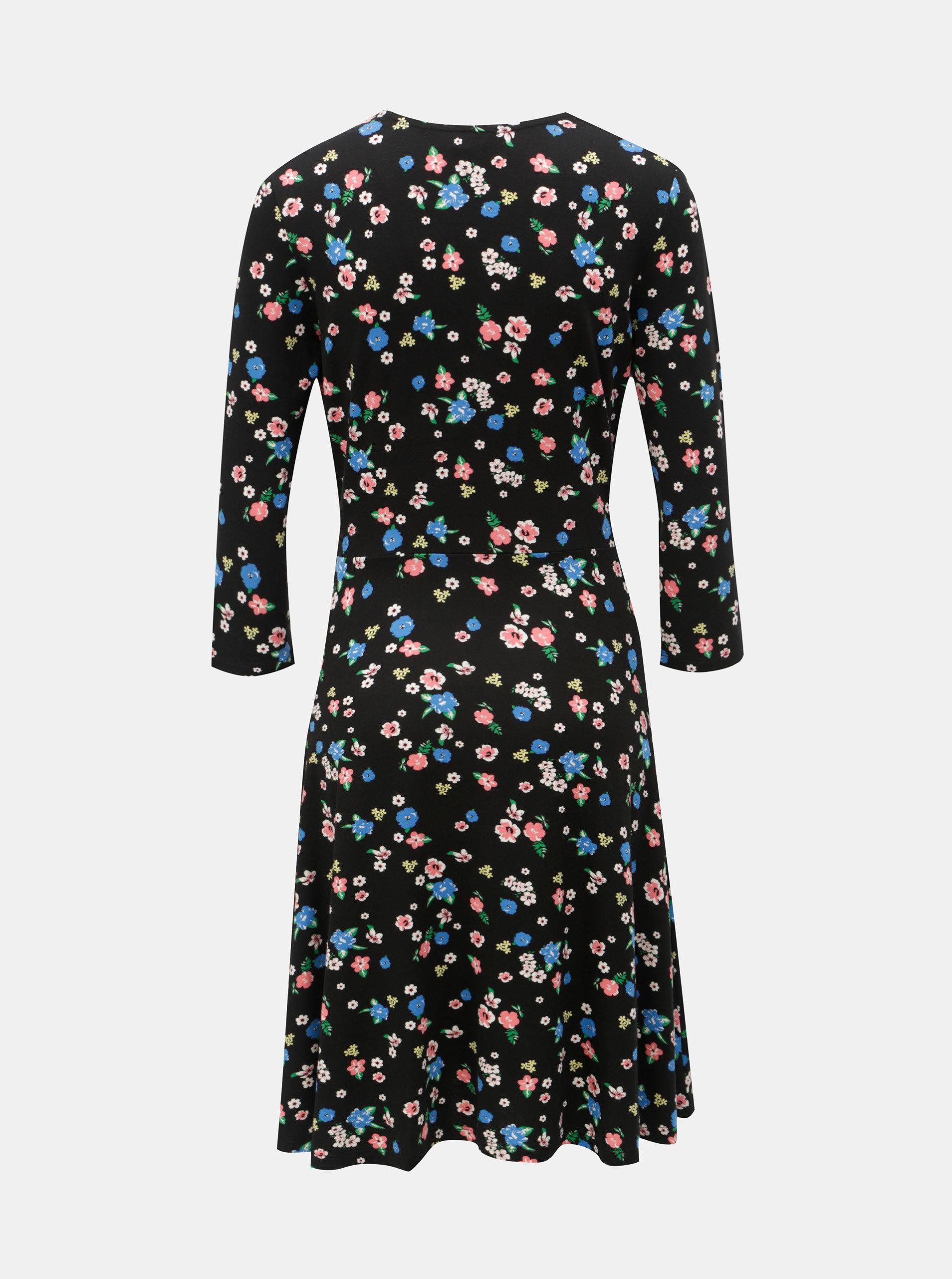 1afefdbbdccb Černé květované šaty s překládaným výstřihem Dorothy Perkins ...