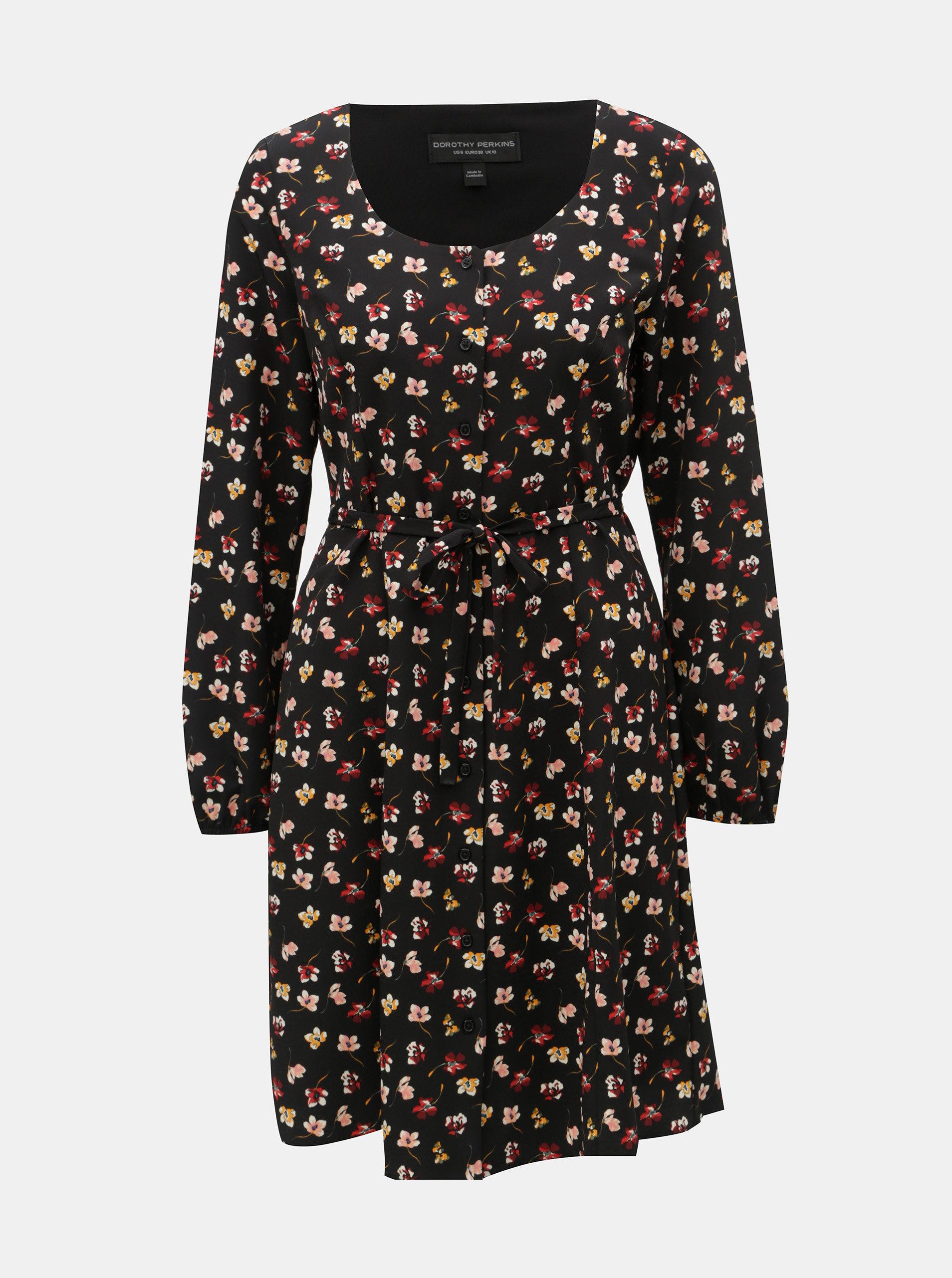 Čierne kvetované šaty Dorothy Perkins ... c40236060c8
