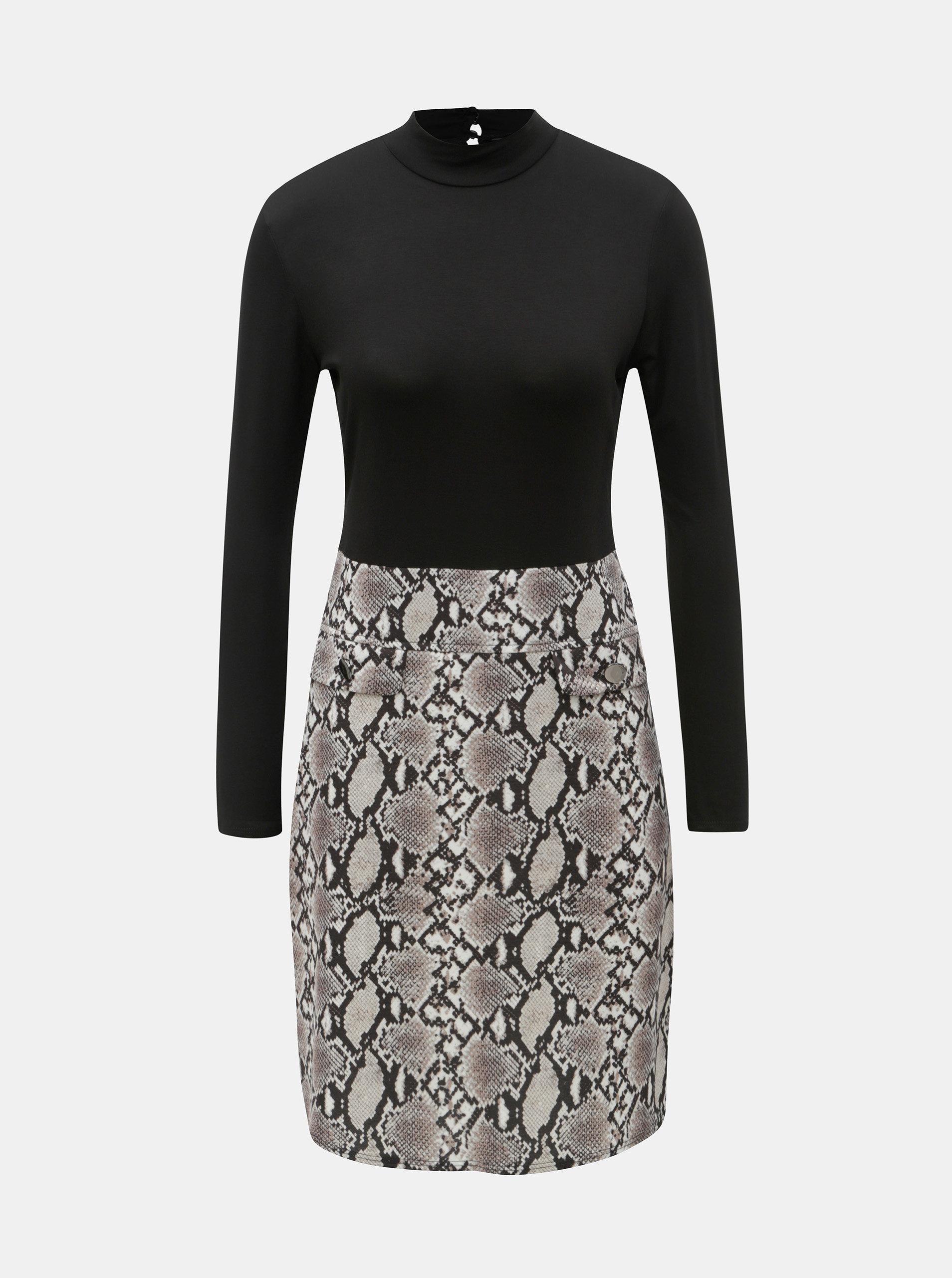 Béžovo-černé šaty s hadím vzorem Dorothy Perkins ... 59c033ab54