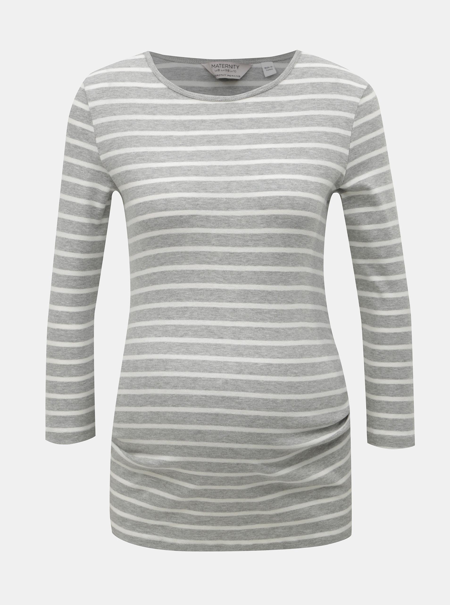 a019de22456e Bielo–sivé pruhované tehotenské tričko s 3 4 rukávom Dorothy Perkins  Maternity ...