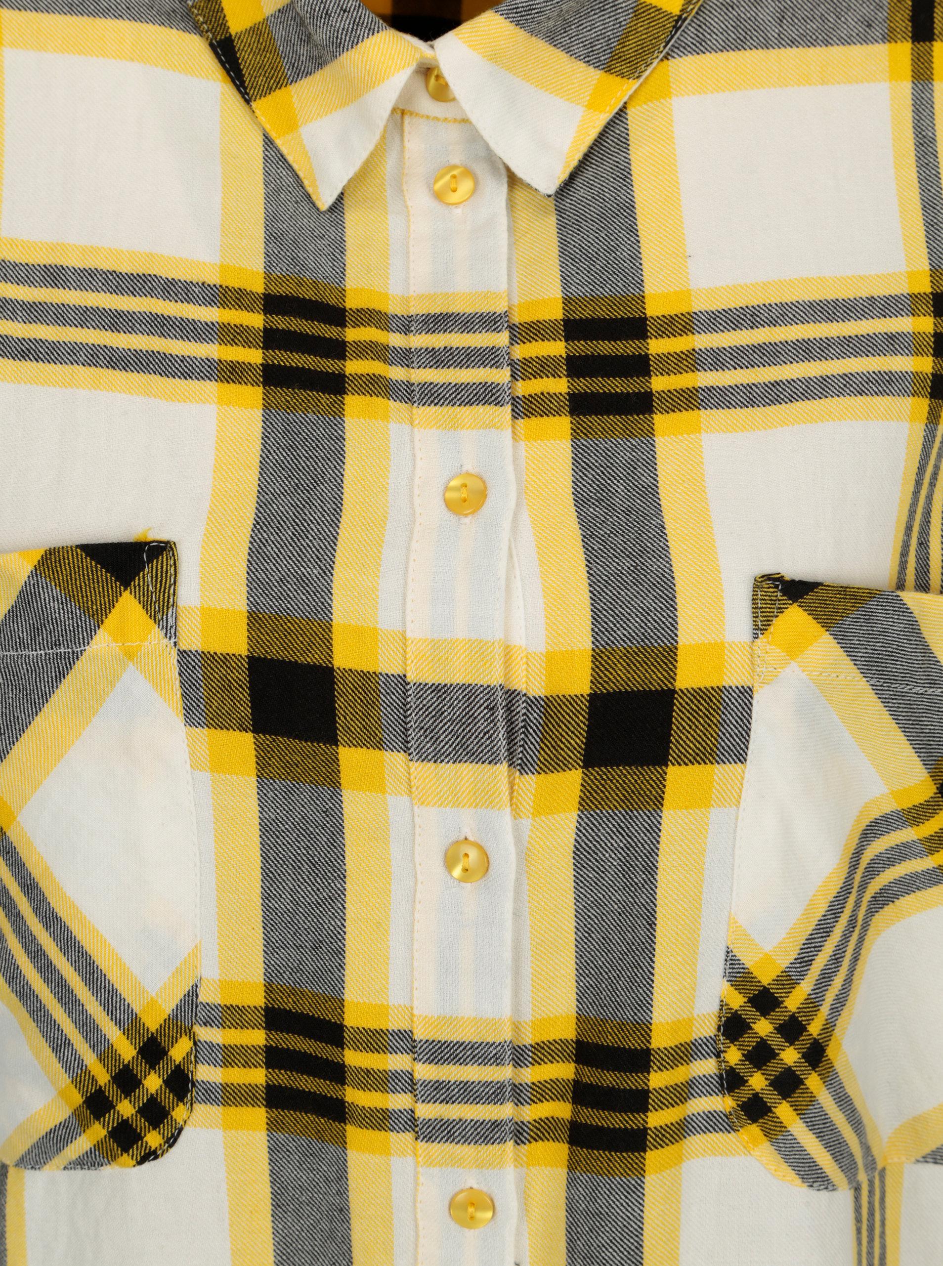 Žlutá dlouhá kostkovaná košile Noisy May Erik ... 370d089e0a