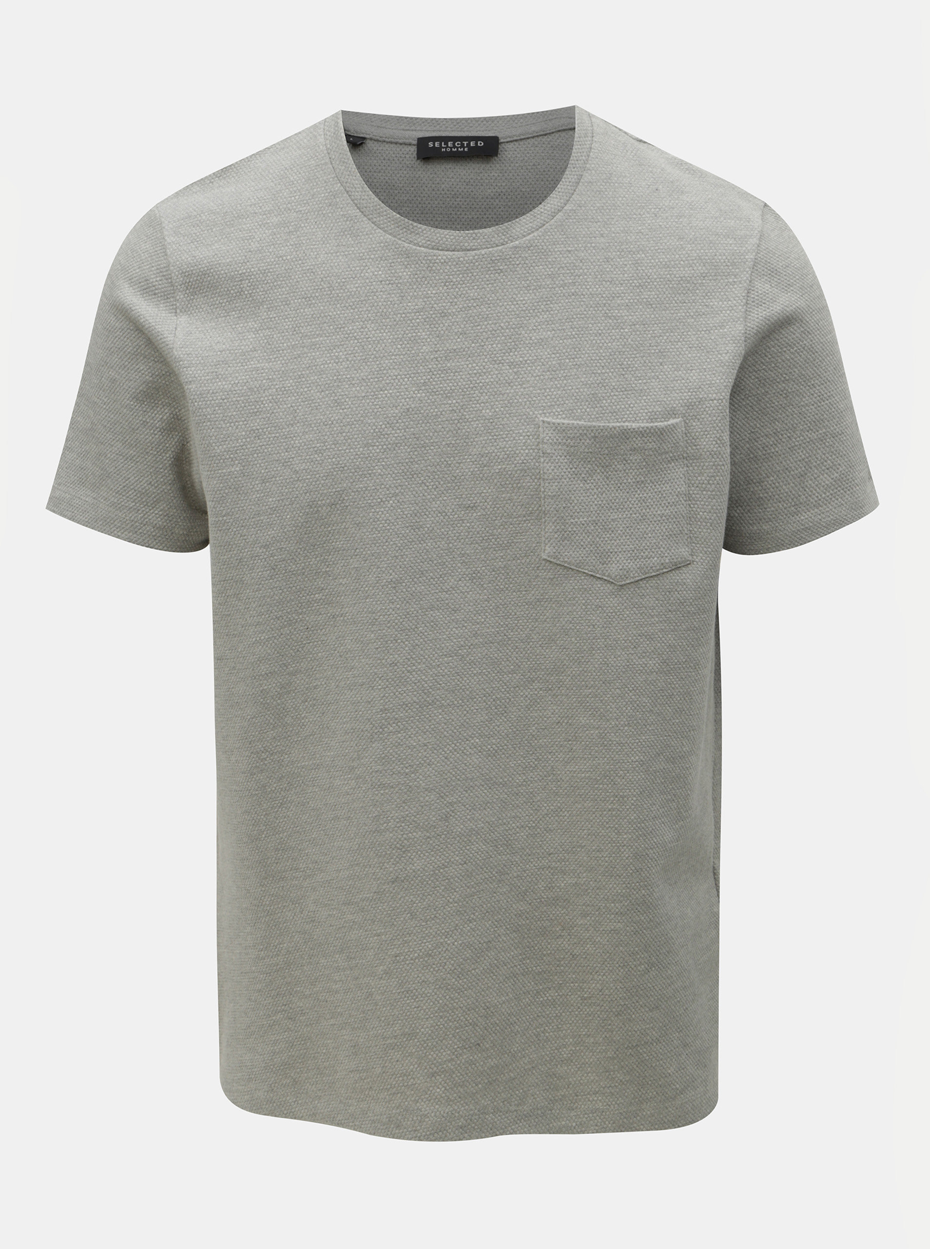 341352f56d4f Sivé tričko s náprsným vreckom Selected Homme Wave ...