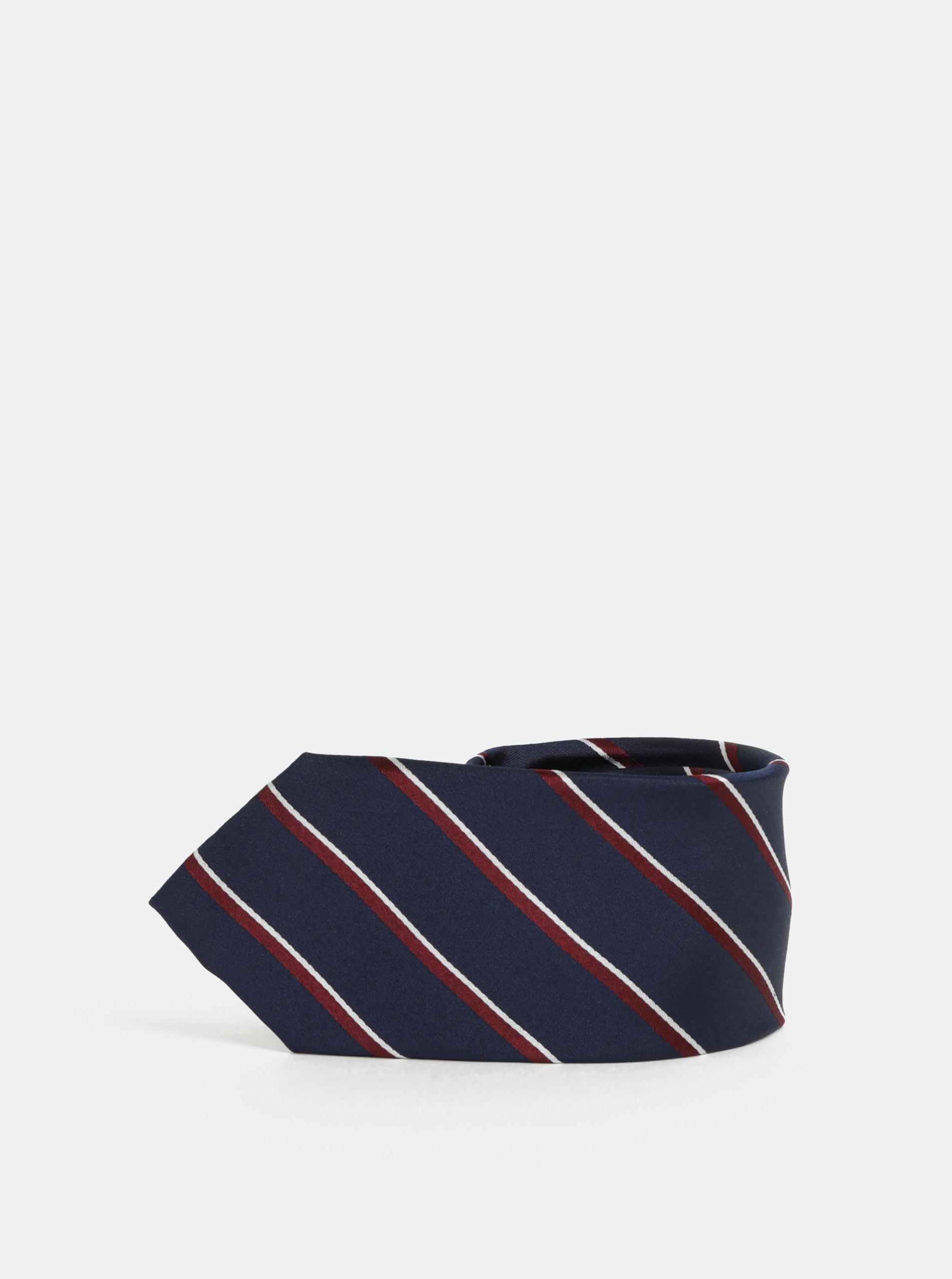 Vínovo-modrá pruhovaná hedvábná kravata Selected Homme Noah