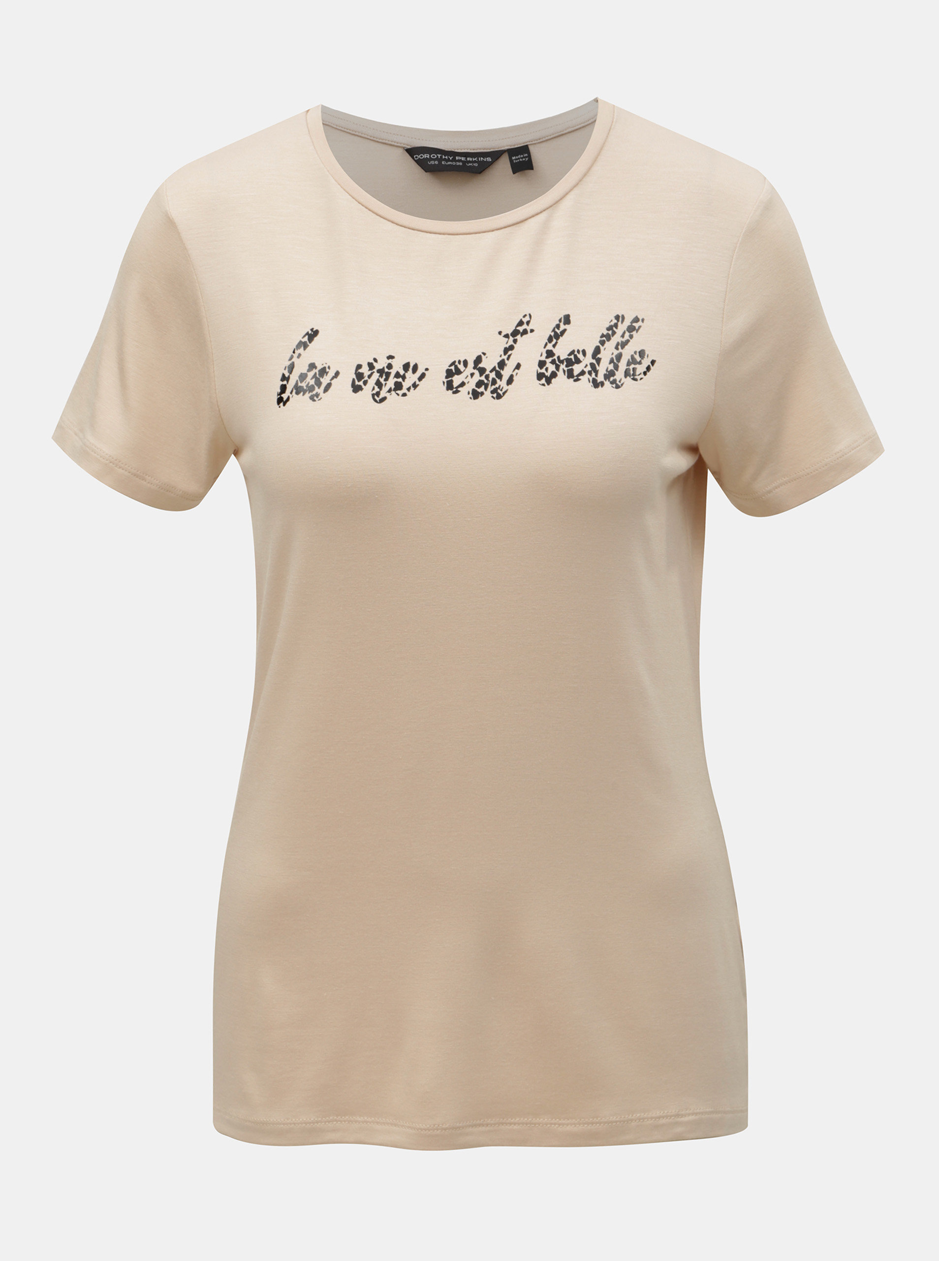 16cf87672473 Béžové tričko s potiskem Dorothy Perkins ...
