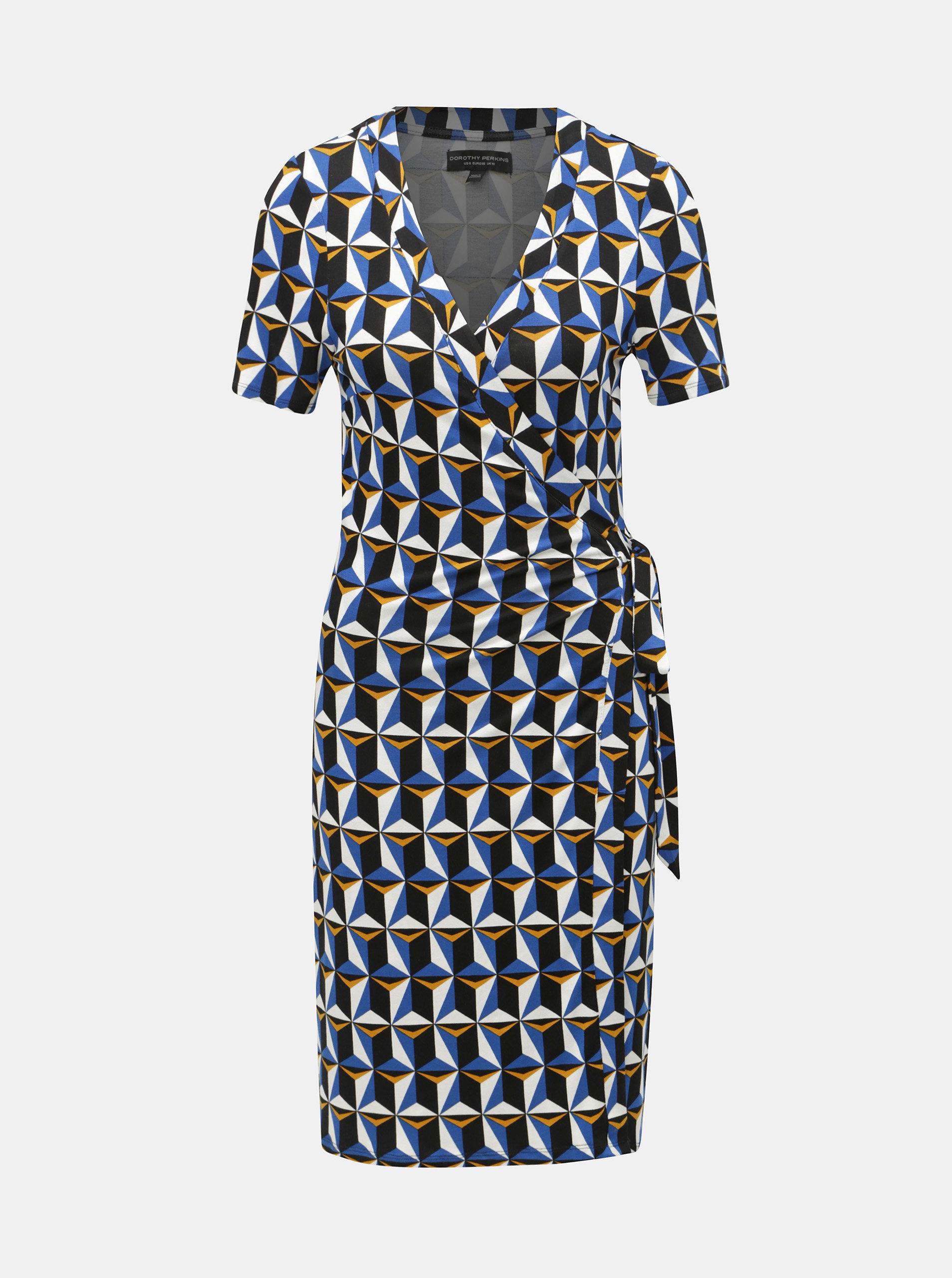 c0bbadbf8ef0 Čierno–modré vzorované zavinovacie šaty Dorothy Perkins ...