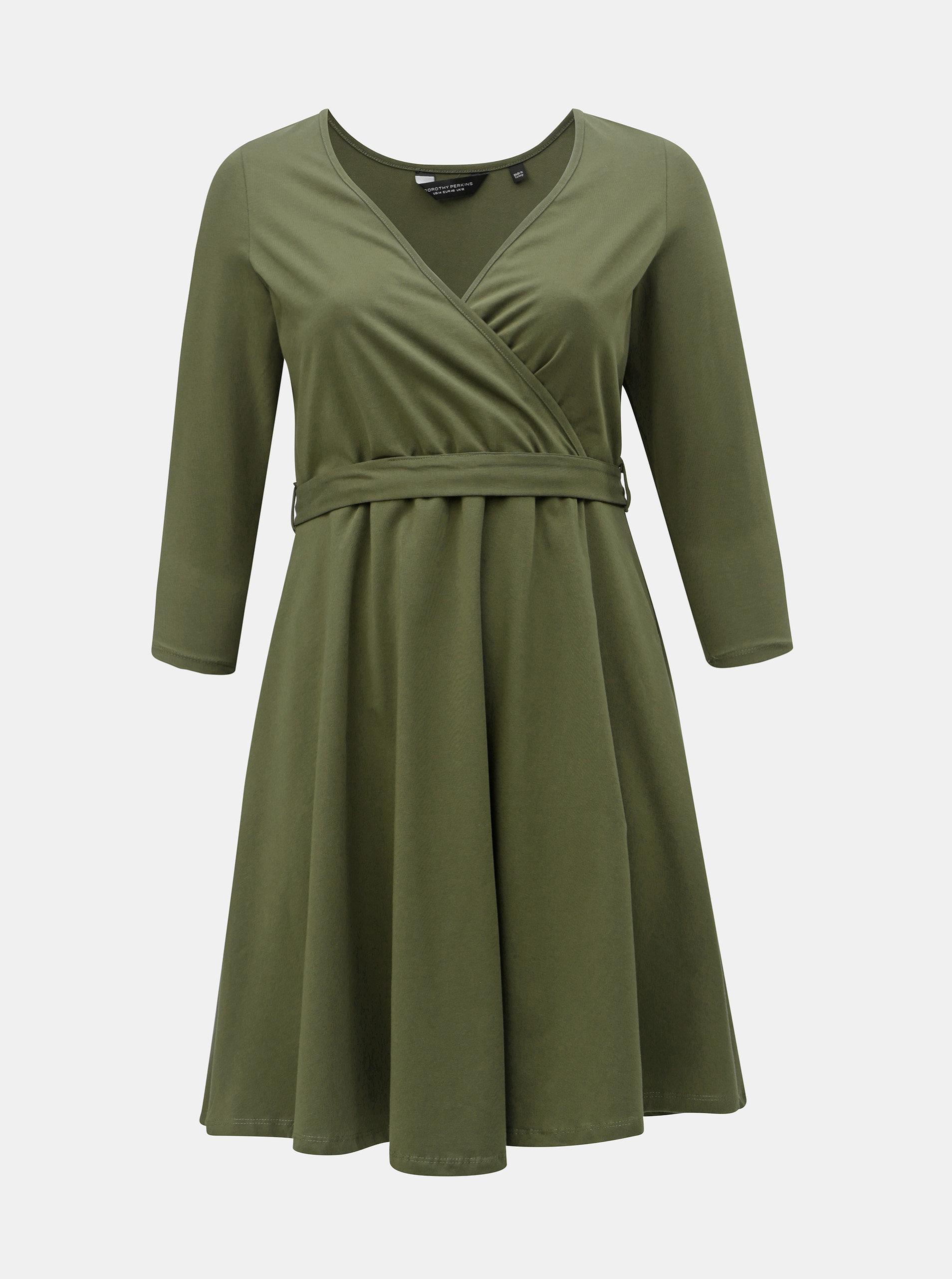 Kaki šaty s prekladaným výstrihom Dorothy Perkins Curve ... 10e6ef6bdc8