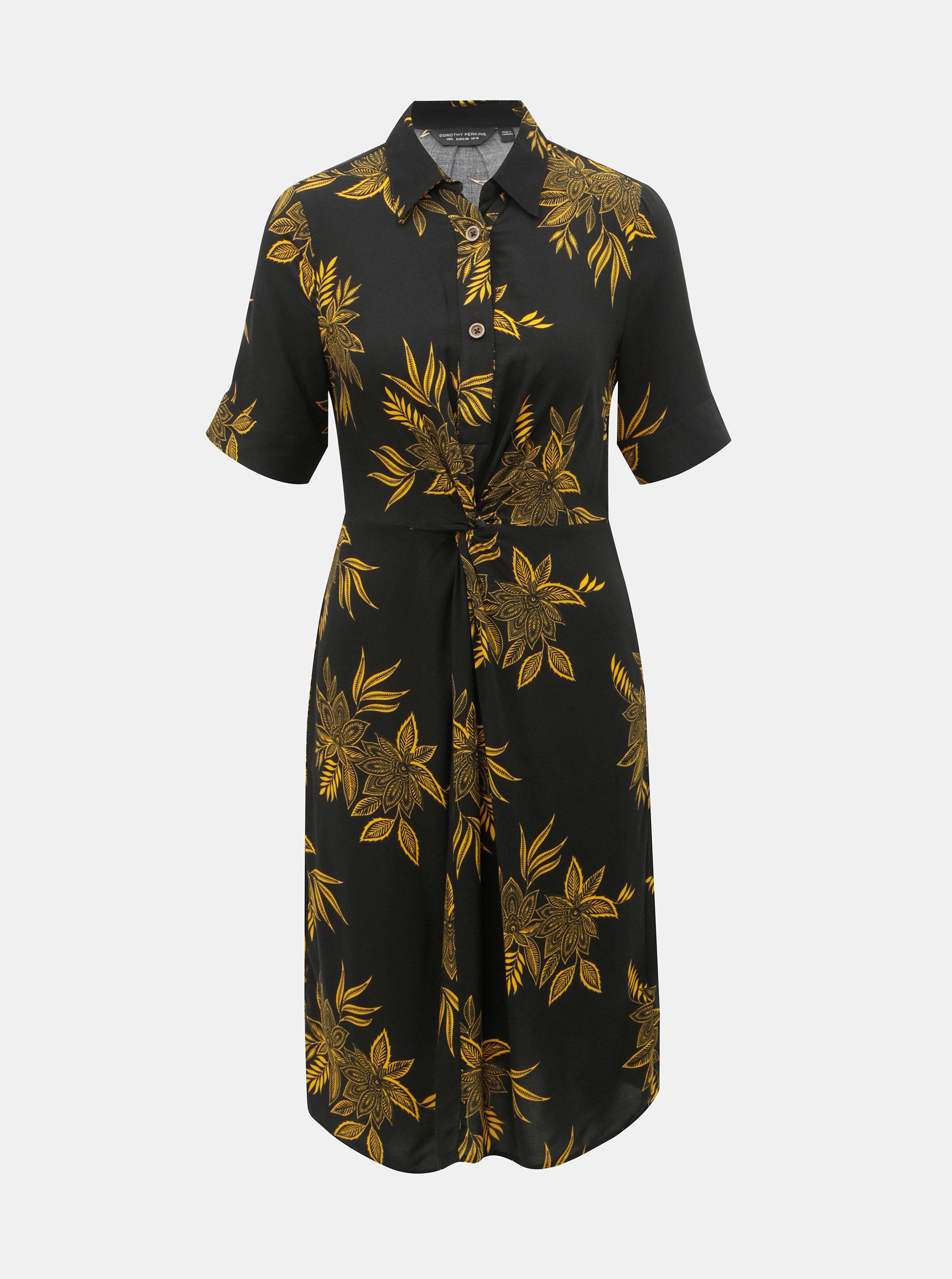 Žlto–čierne kvetované košeľové šaty Dorothy Perkins ... 47bc2b873dd