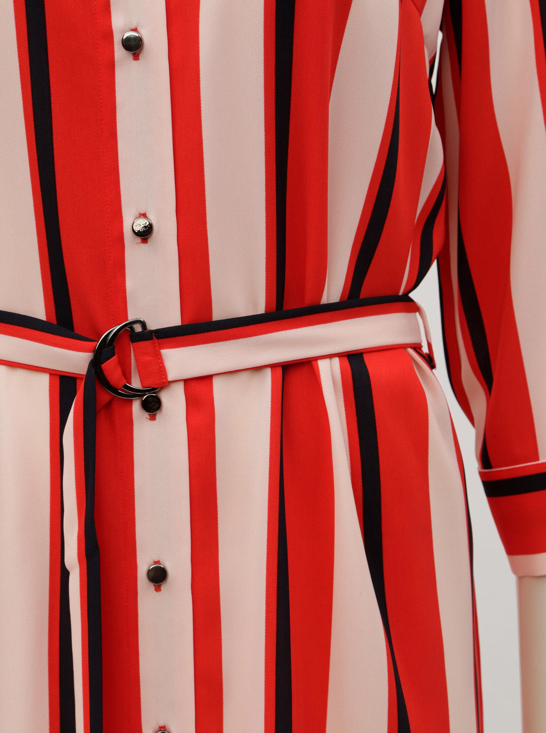 8ad795c32ef Červené pruhované košilové šaty s páskem Dorothy Perkins ...