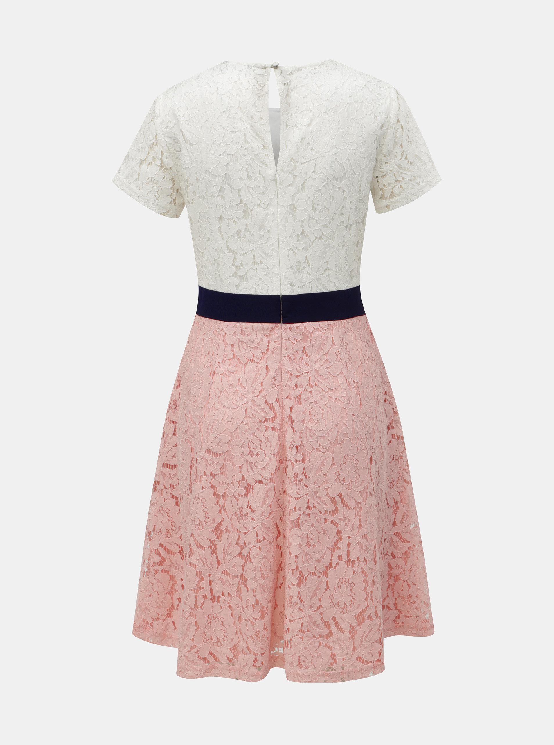 42037ca81092 Bílo-růžové krajkové šaty Dorothy Perkins ...