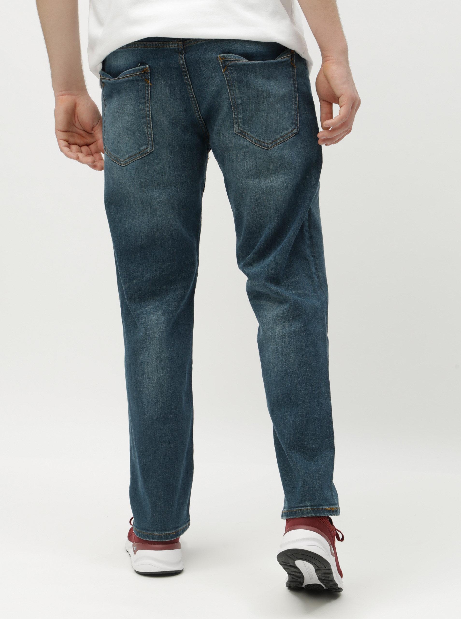 4b2a63b24e5 Modré straight džíny s páskem Burton Menswear London ...