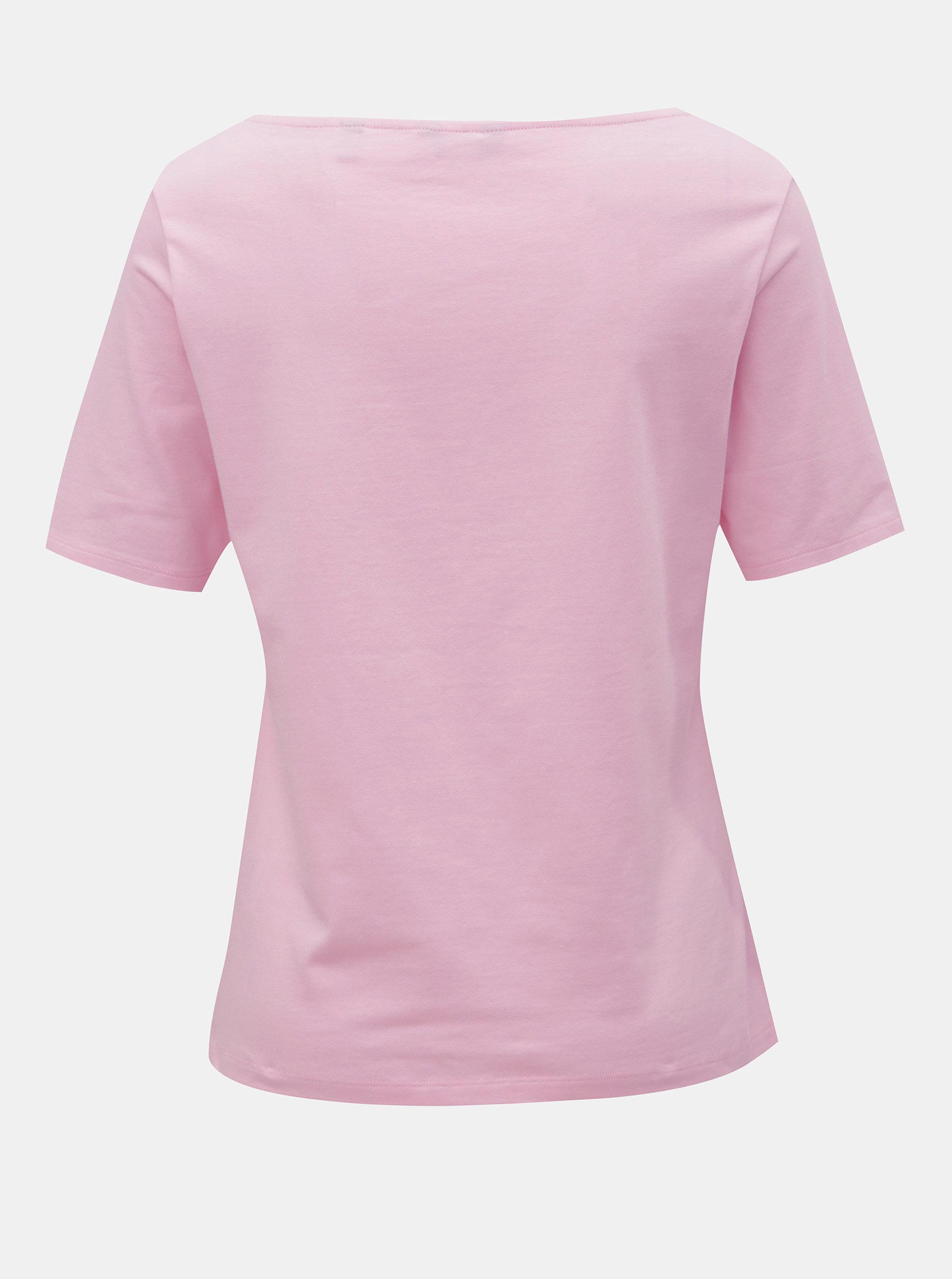 481a7ada9a9a Ružové dámske tričko s lodičkovým výstrihom GANT ...