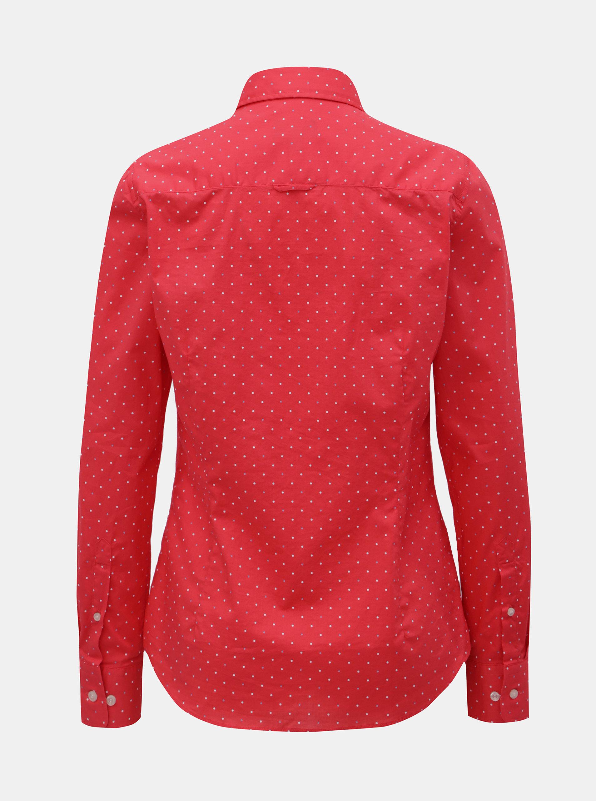 b94fd3d05517 Červená dámska bodkovaná košeľa GANT ...