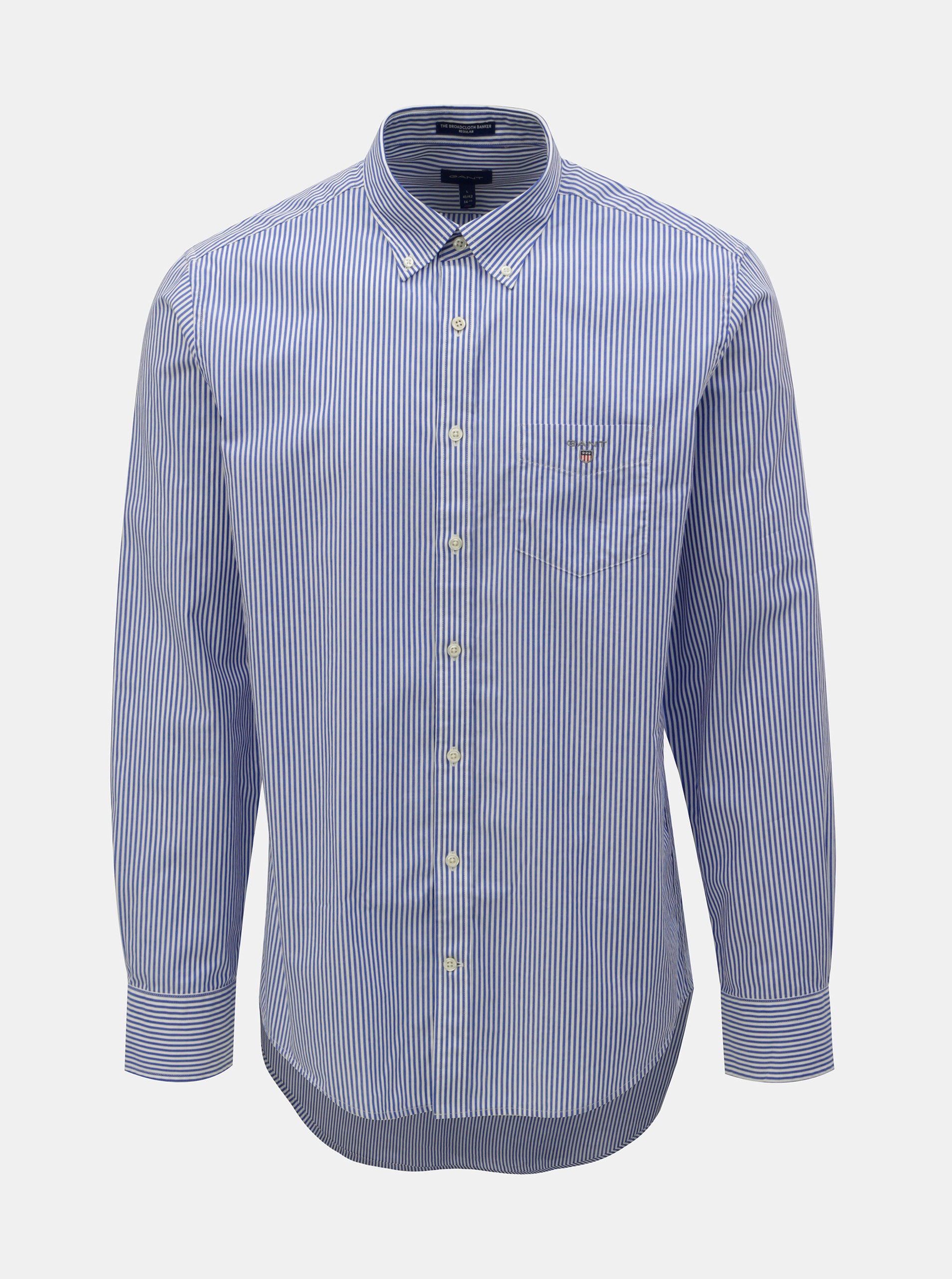 bf4c8593deaa Bielo–modrá pánska pruhovaná regular fit košeľa GANT ...