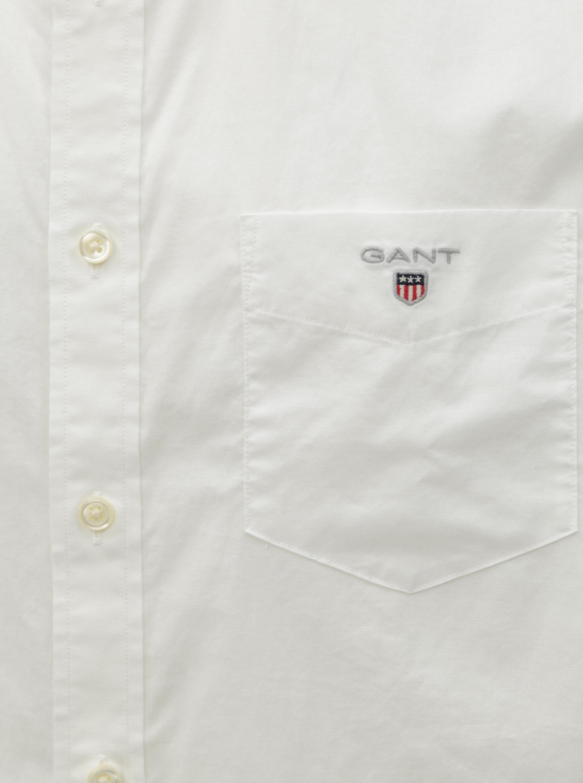 8b54095df9ba Biela pánska regular fit košeľa GANT ...