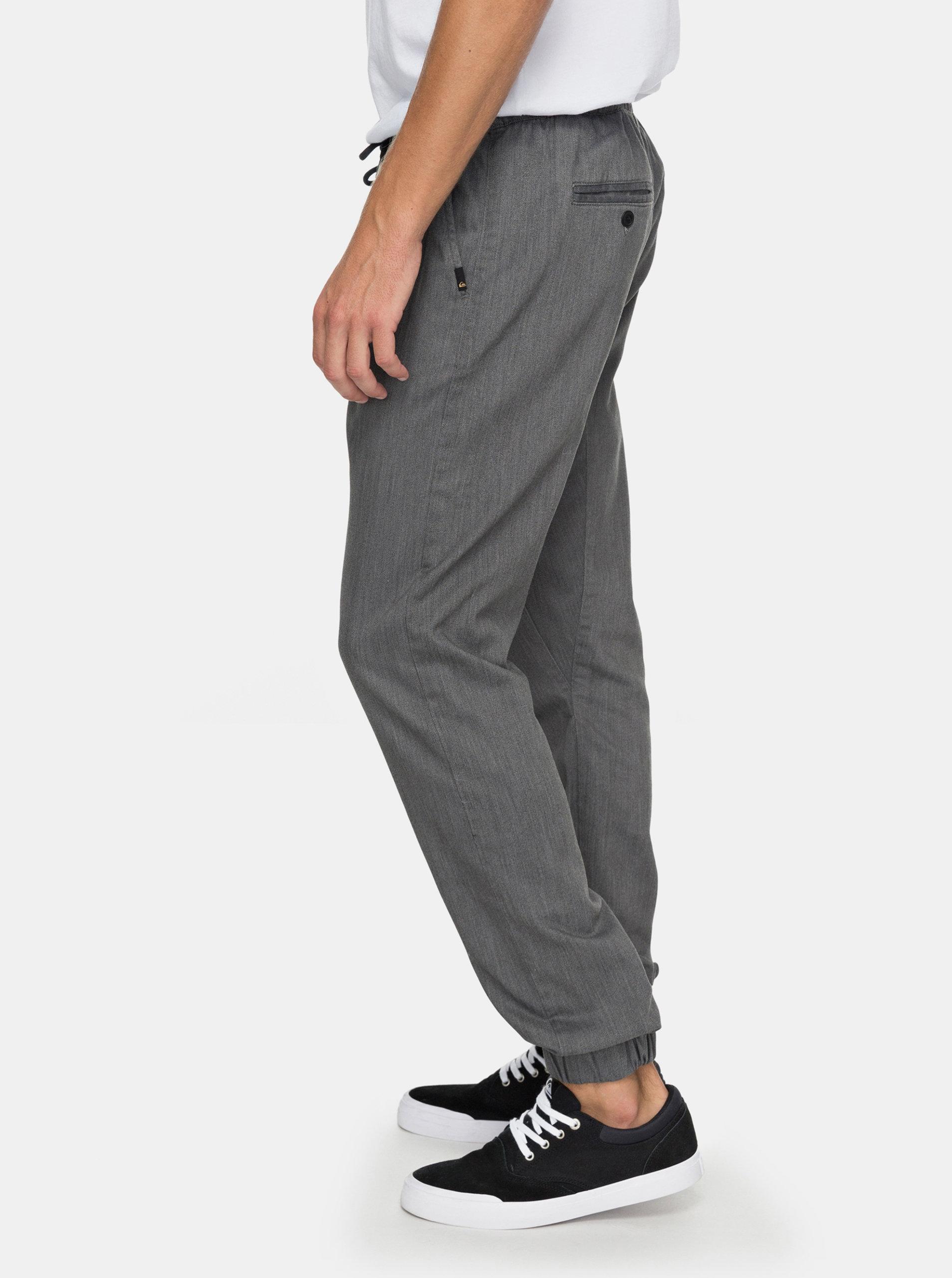 e4ea5fa00a0c Sivé pánske nohavice s gumou v páse Quiksilver ...