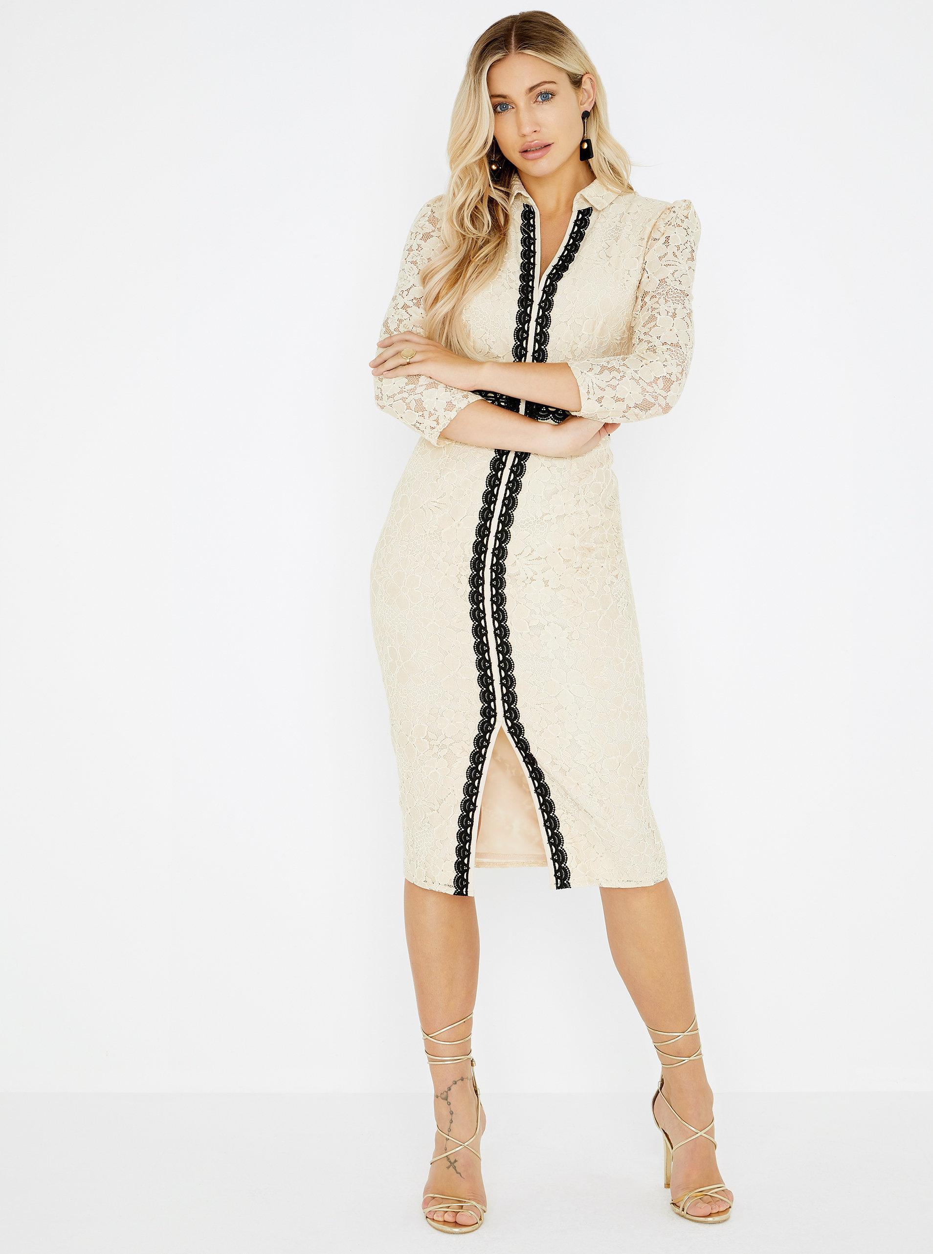 Béžové čipkované šaty Little Mistress ... 336849cd254