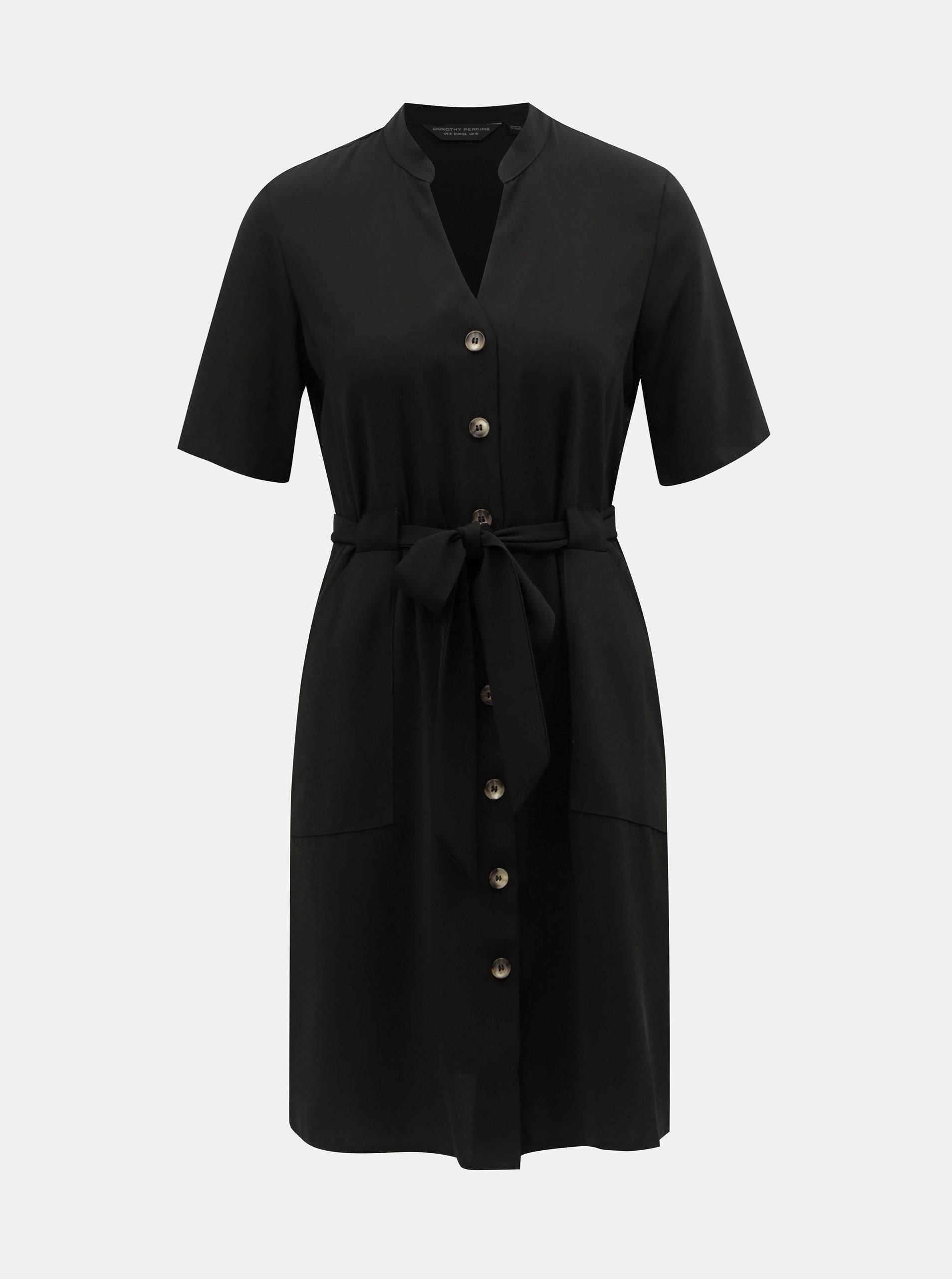 1ea6743e3f4e Čierne košeľové šaty s opaskom Dorothy Perkins ...